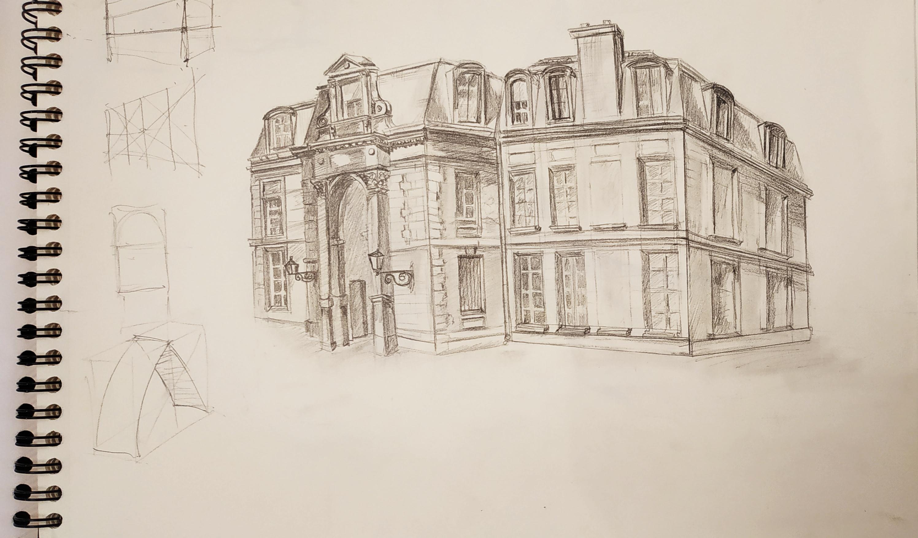 Croquis d'architecture Jardin des Plantes  cours de dessin