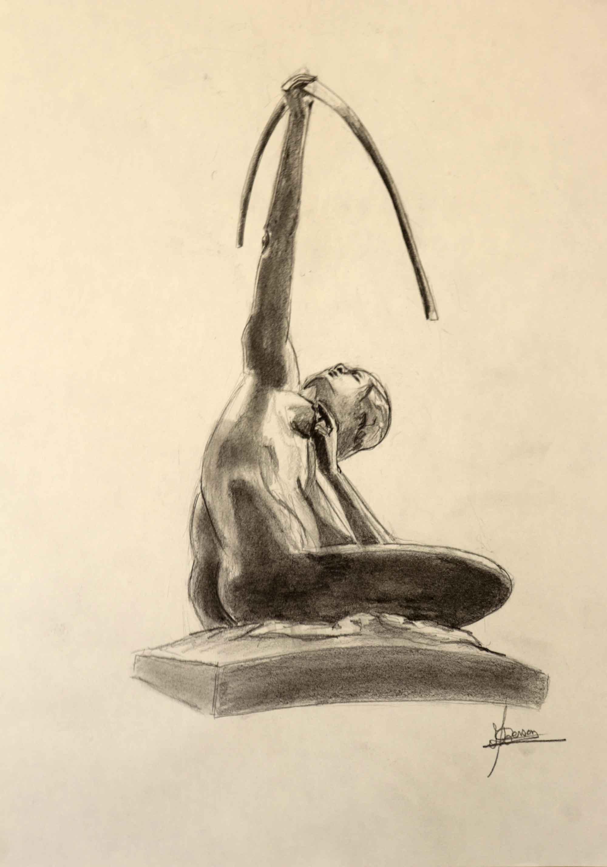 Dessin fusain sculpture format A4  cours de dessin