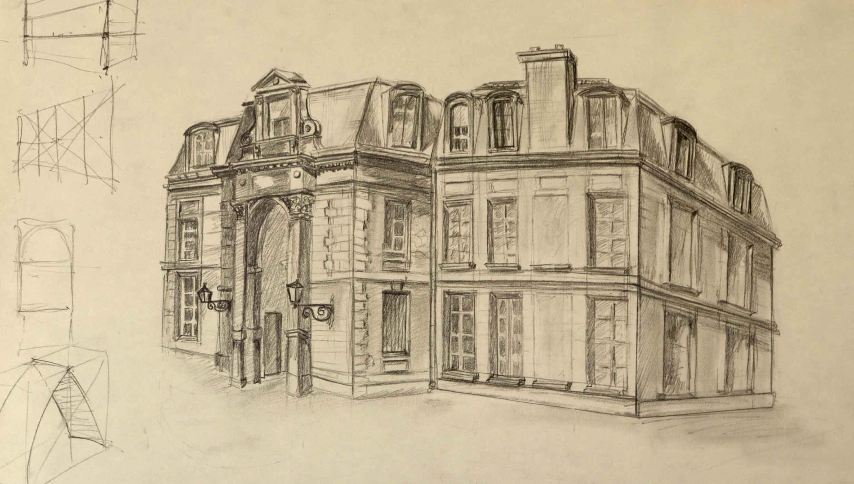 Dessin architecture Jardin des Plantes Paris format A4 graphite sur papier  cours de dessin