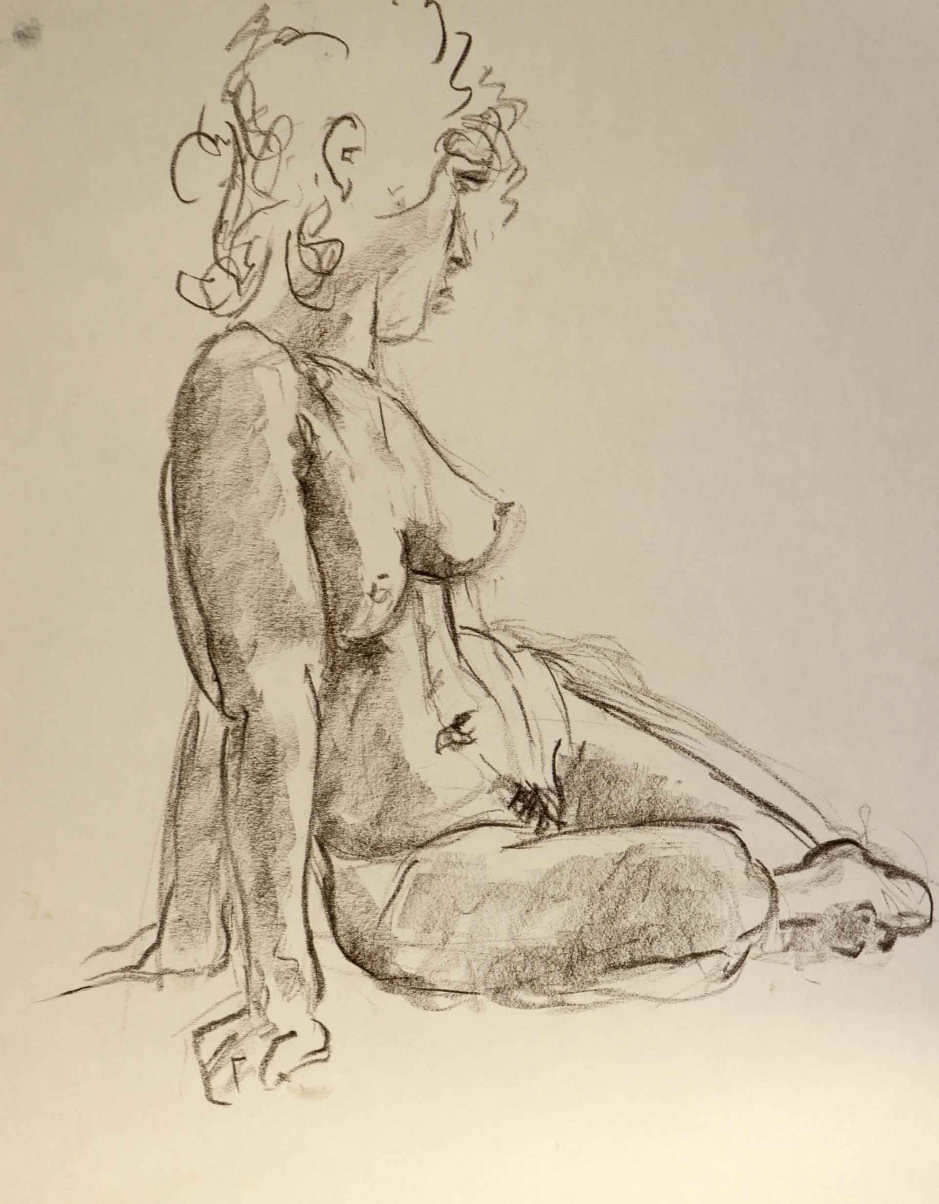Dessin mod�le vivant nu � la craie sur papier format raisin   cours de dessin