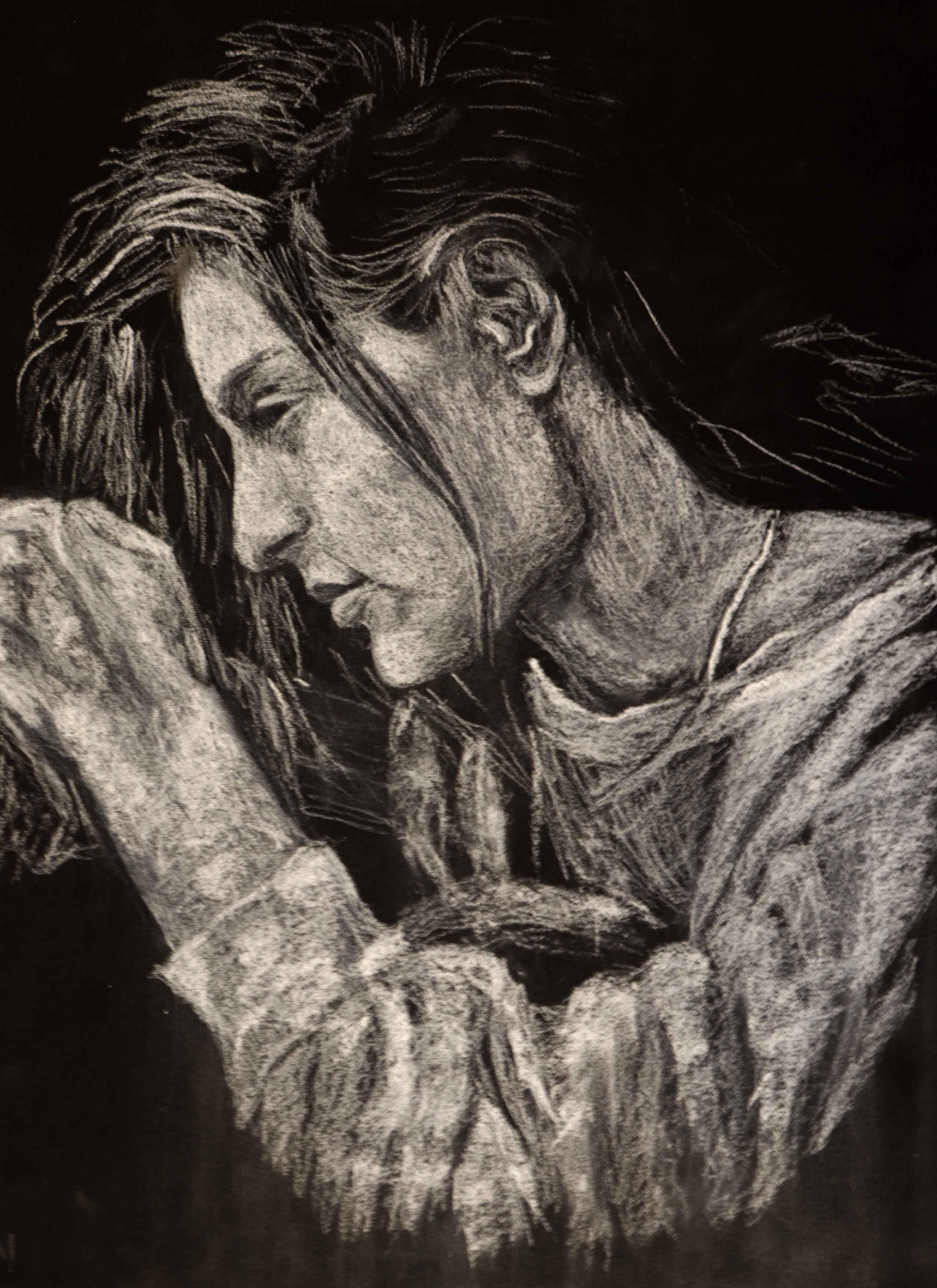 Portraits craie sur papier noir format raisin  cours de dessin