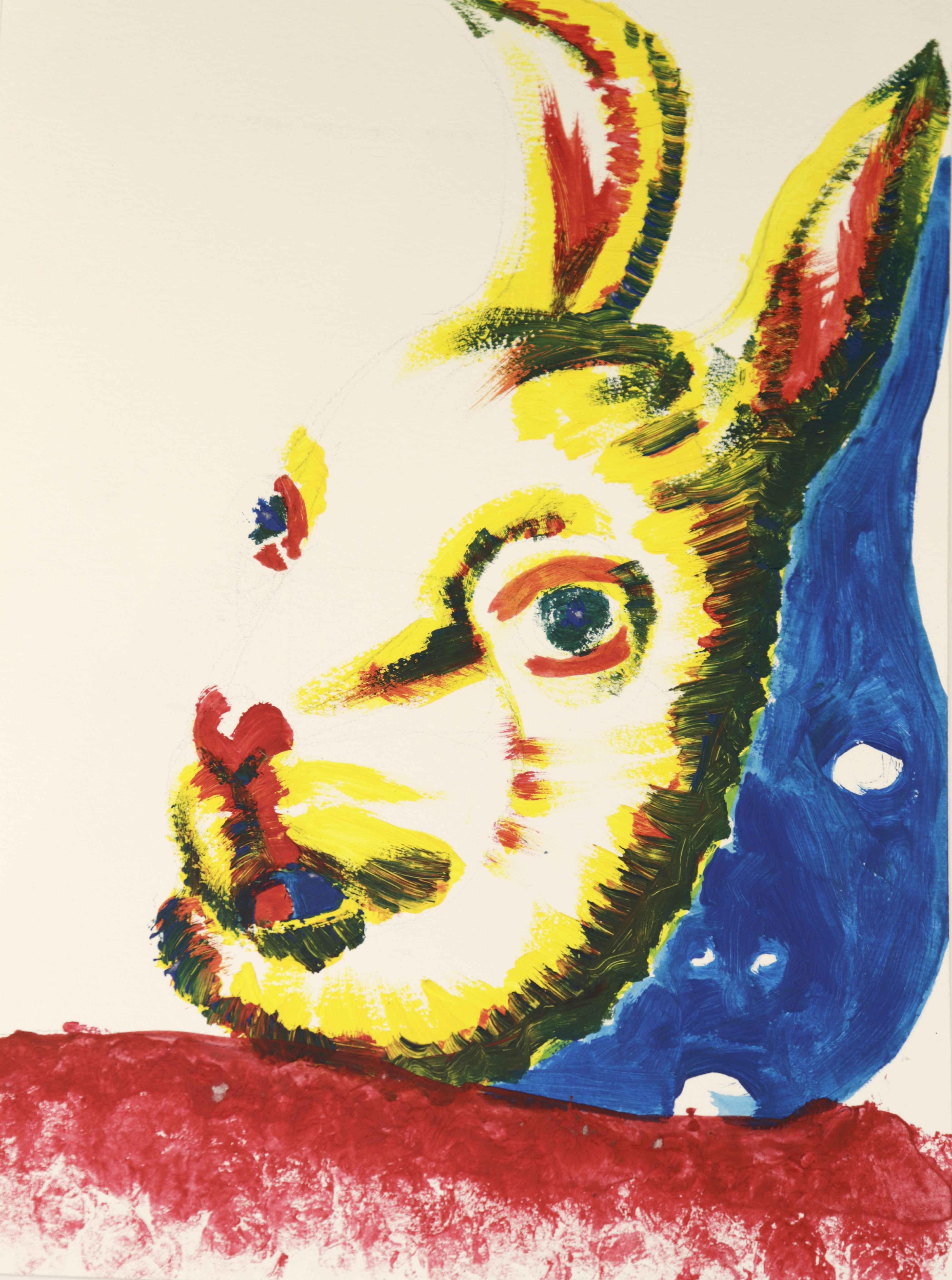 Peinture acrylique sur papier t�te de lapin  cours de dessin