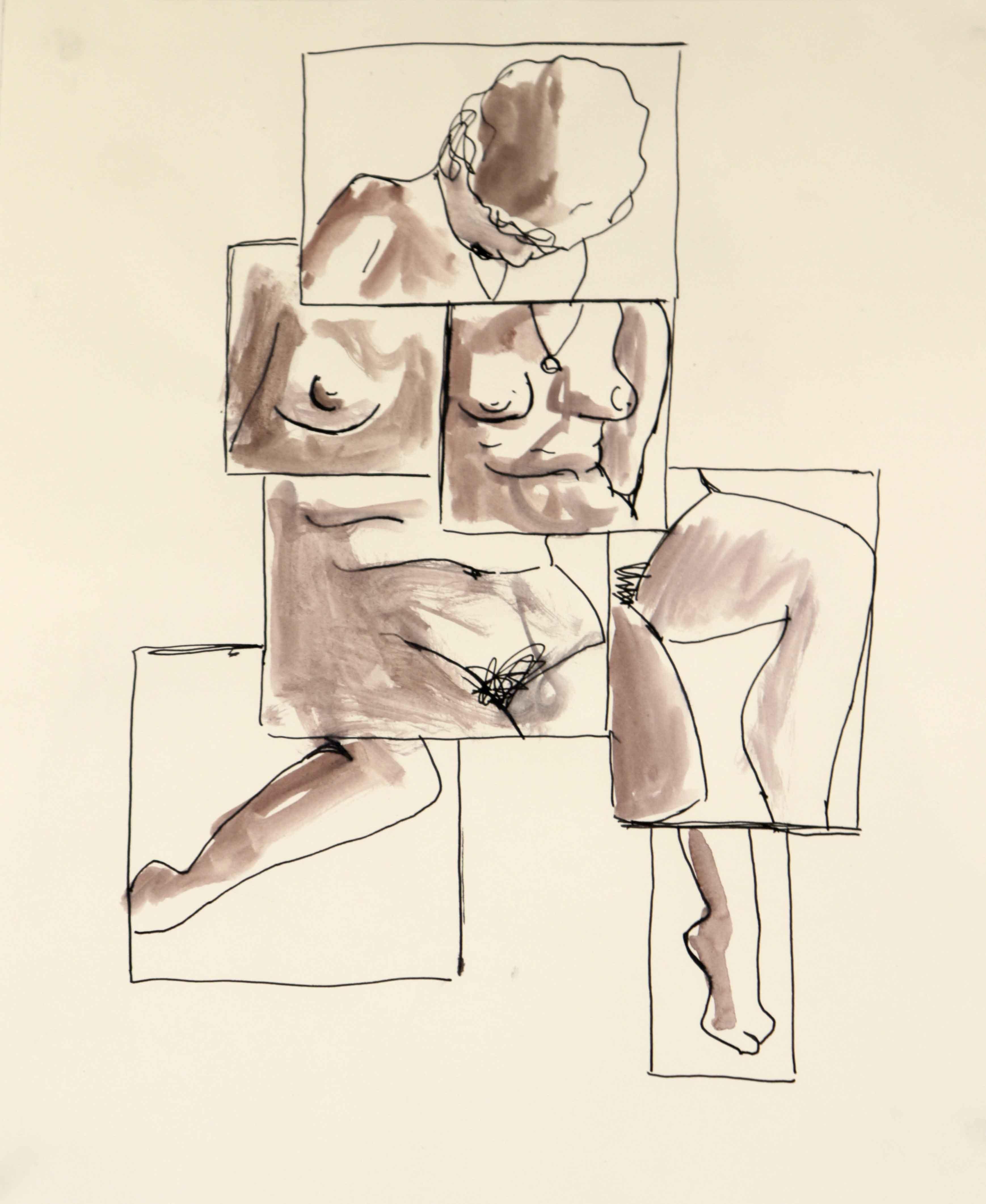 Dessin encre et aquarelle mod�le vivant nue femme  cours de dessin