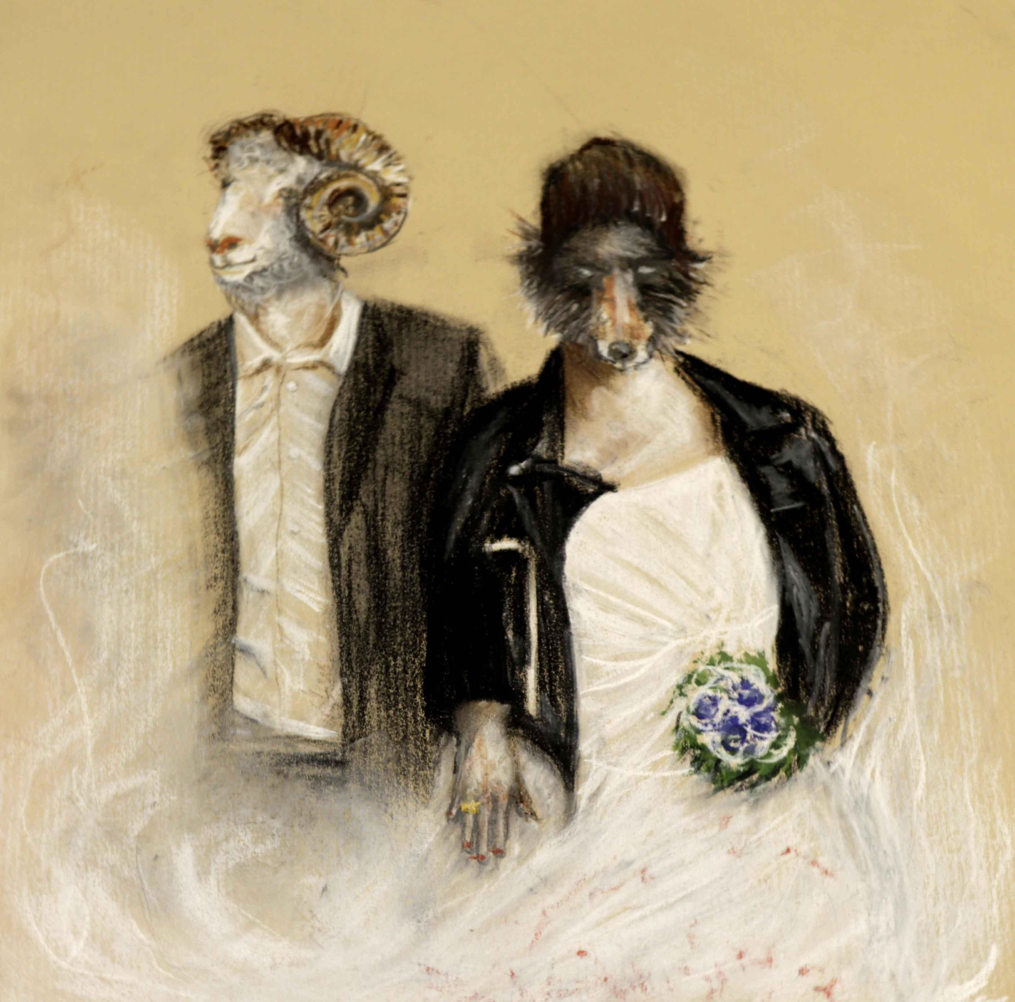 Portrait, couple pastel sur papier Kraft  cours de dessin