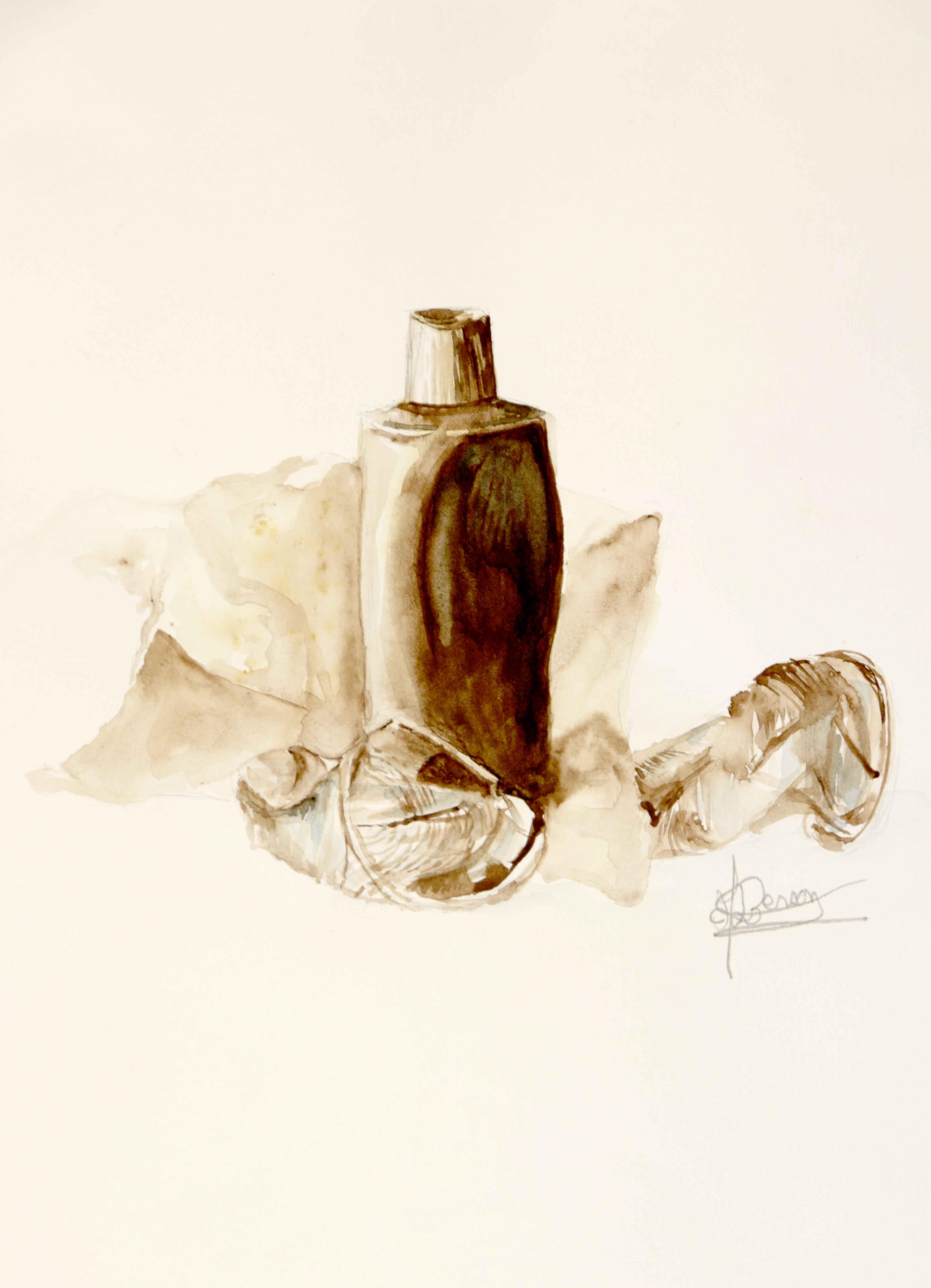 Natures mortes broux de noix sur papier  cours de dessin