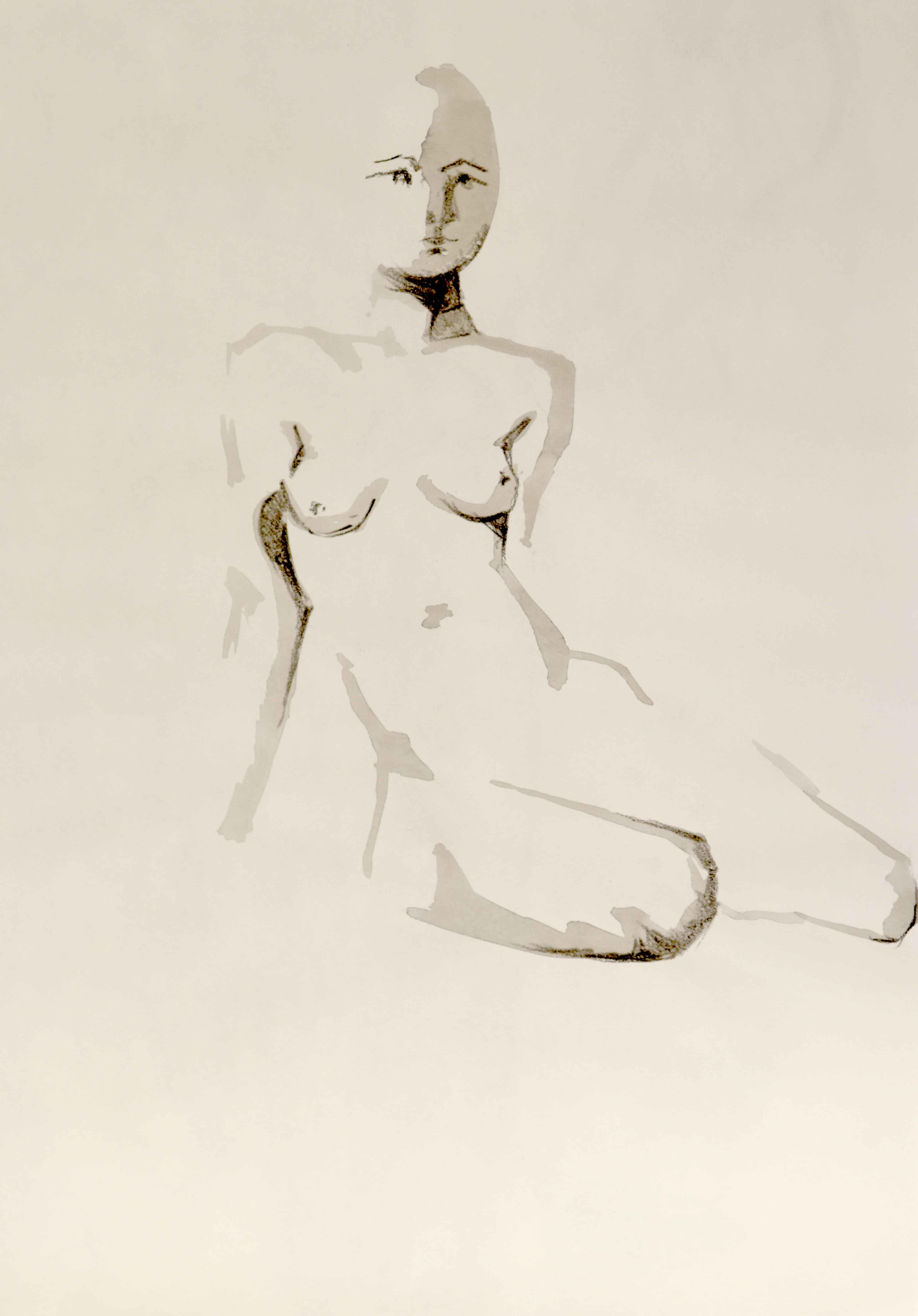 Dessin de nu encre de Chine sur papier lavi  cours de dessin