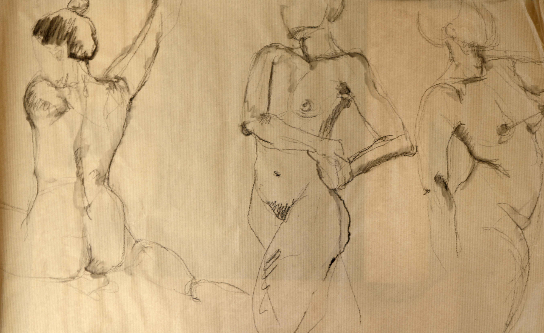 Dessin danse mod�le vivant fusain sur papier Kraft  cours de dessin