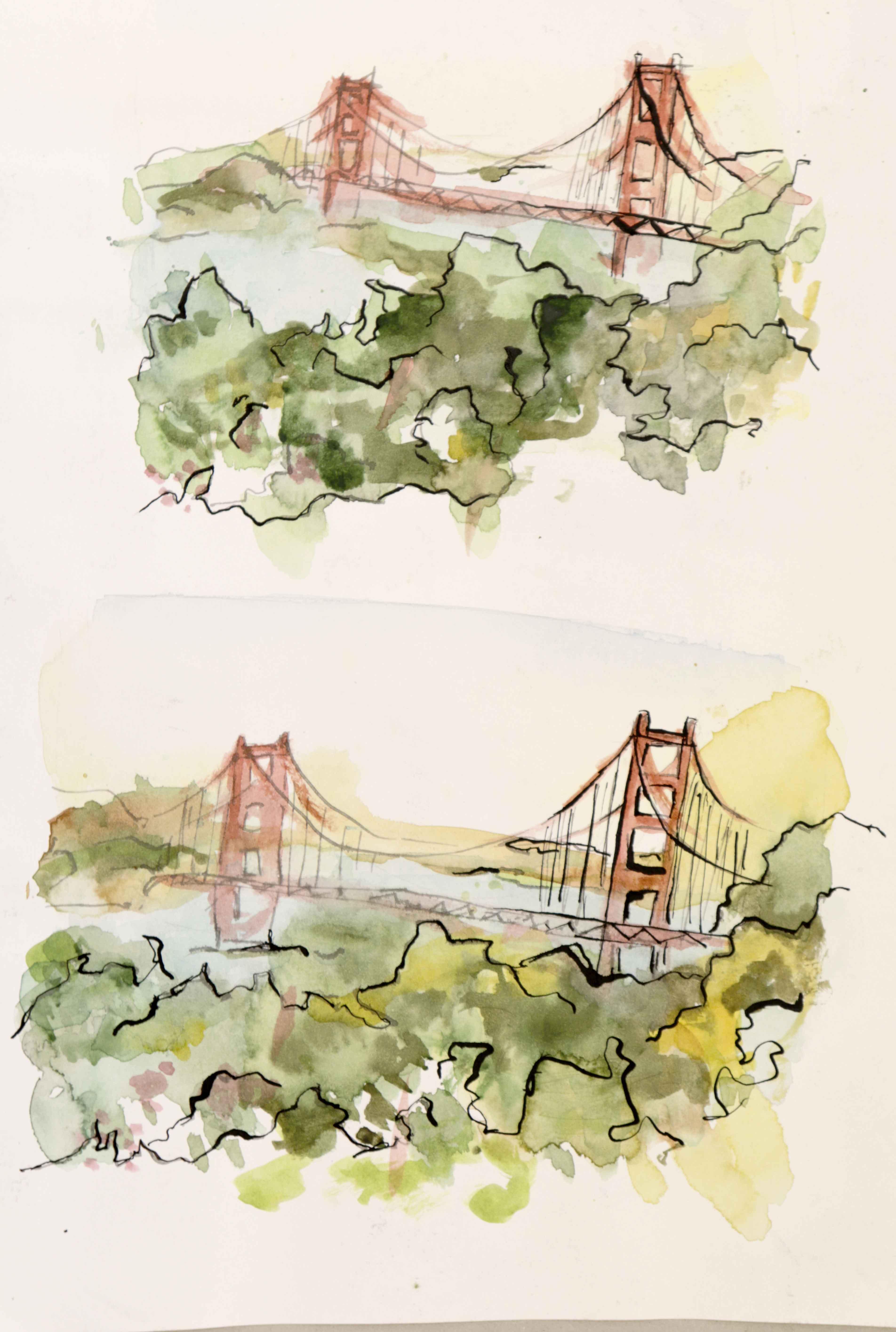 Dessin aquarelle paysage  cours de dessin
