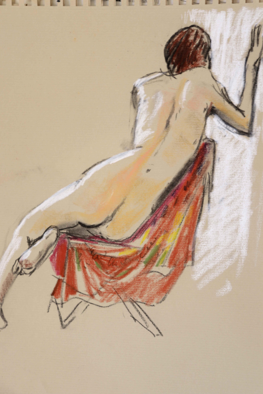 Mod�le vivant femme pastel sur papier color�  cours de dessin