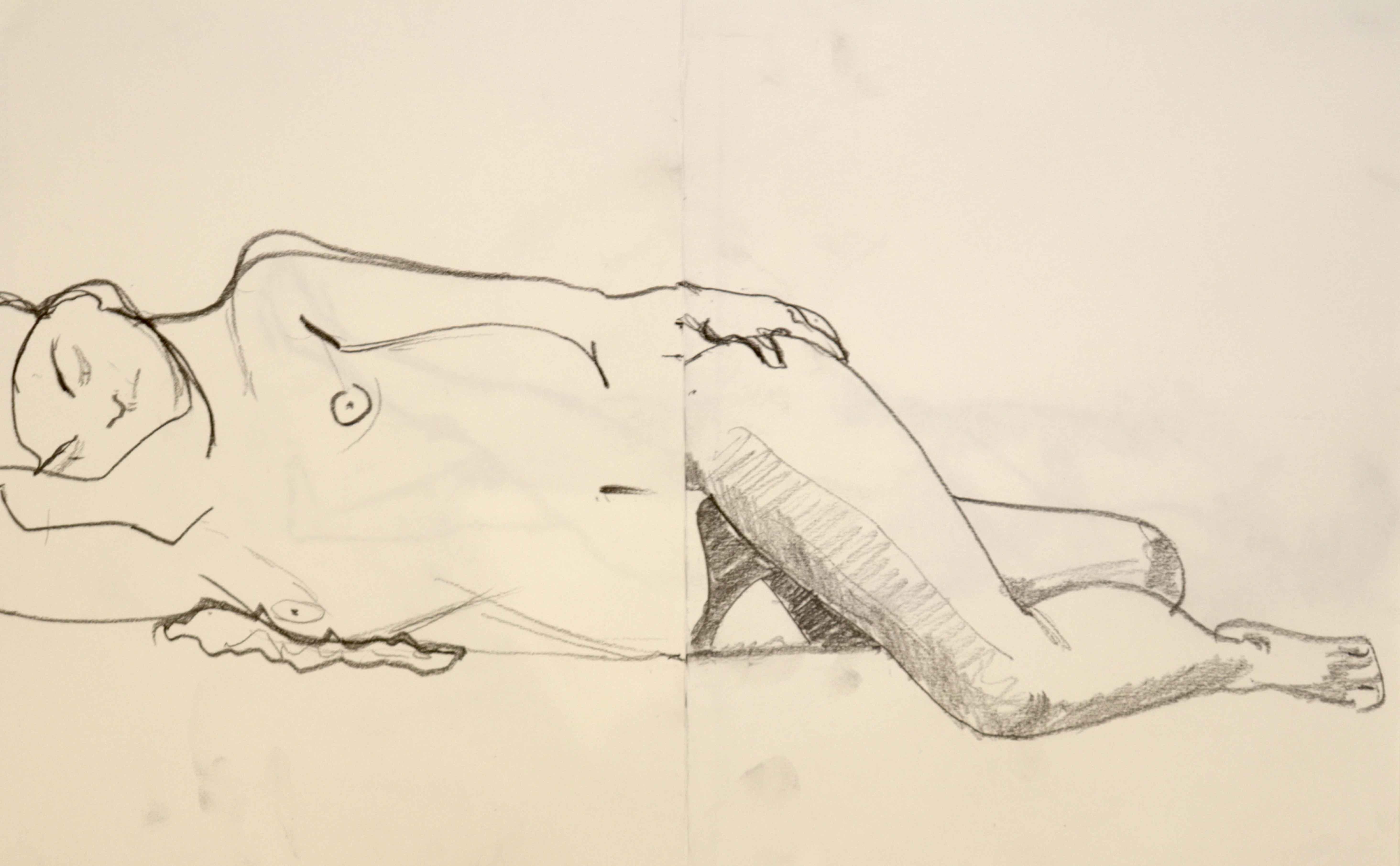 Dessin en valeur composition de deux corps mod�le vivant allong�  cours de dessin