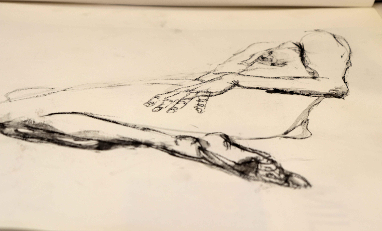 Dessin mod�le vivant fusain sur papier  cours de dessin