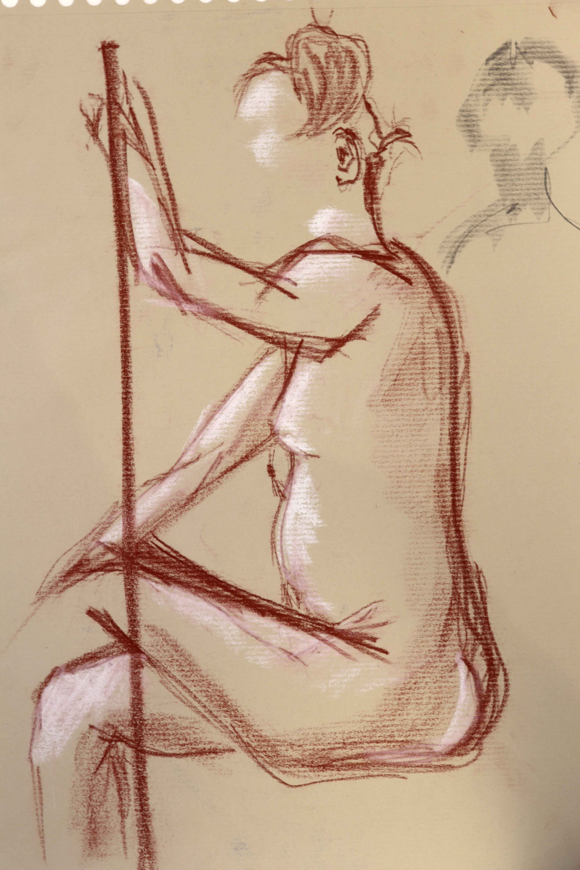 Sanguine craie blanche mod�le vivant femme croquis  cours de dessin