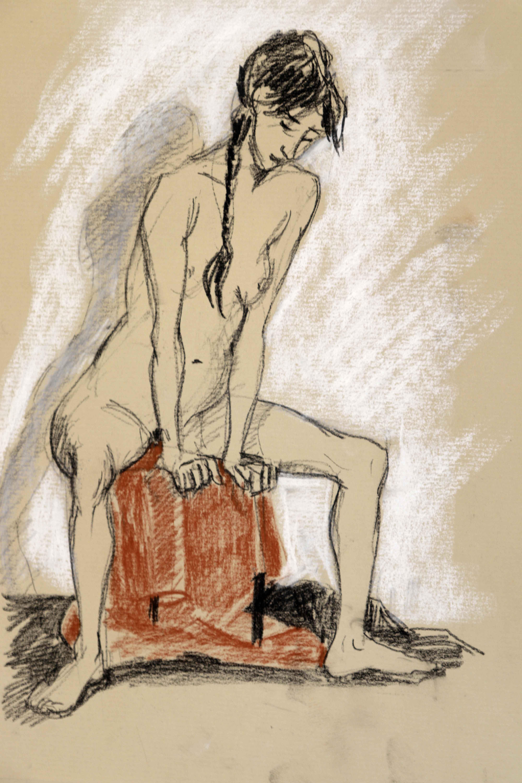 Croquis mod�le vivant assis graphite Pierre noir pastel  sur papier  cours de dessin