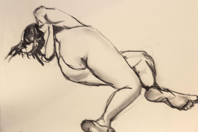 Dessin Mod�le vivant fusain sur papier femme  cours de dessin
