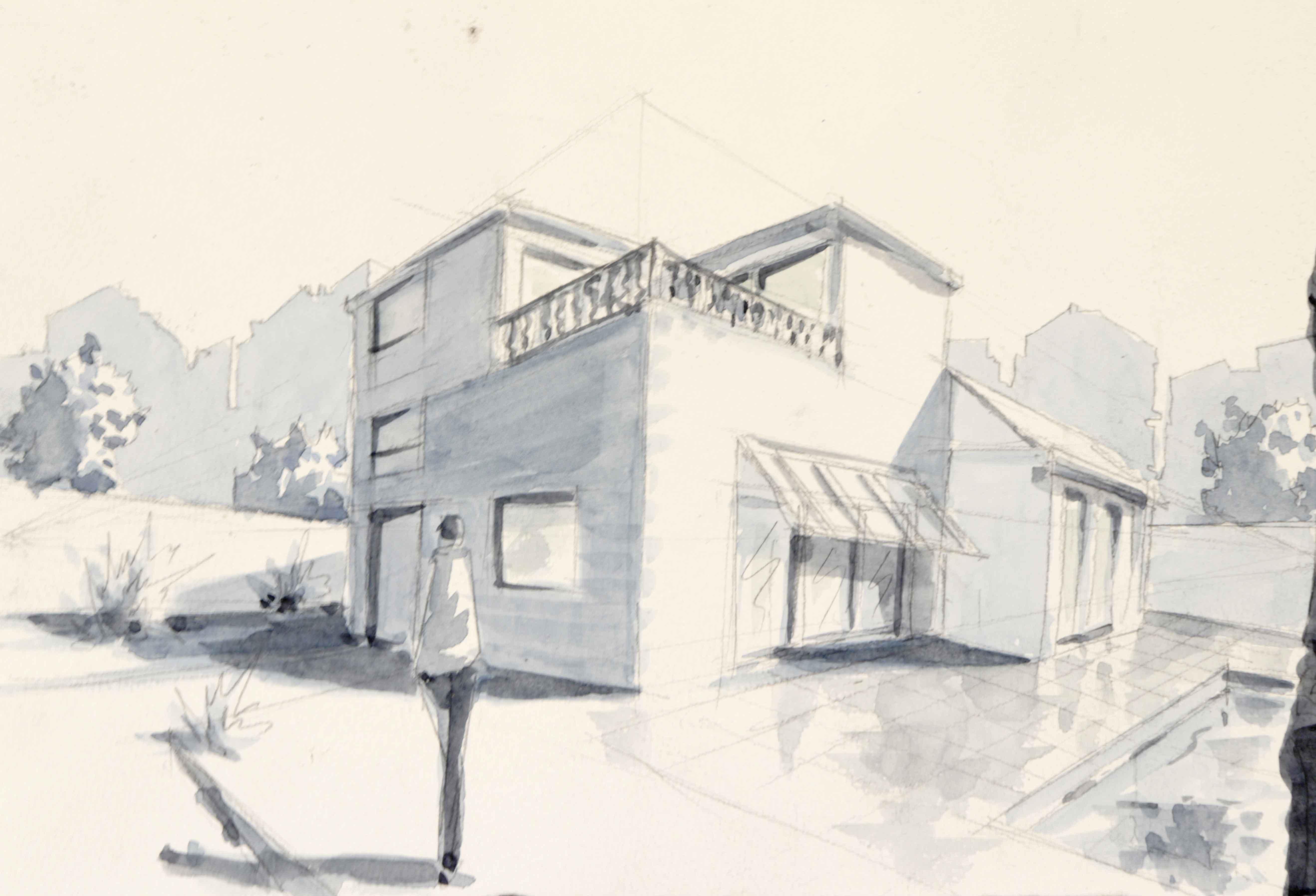 Dessin d'architecture crayon de papier  aquarelle  cours de dessin