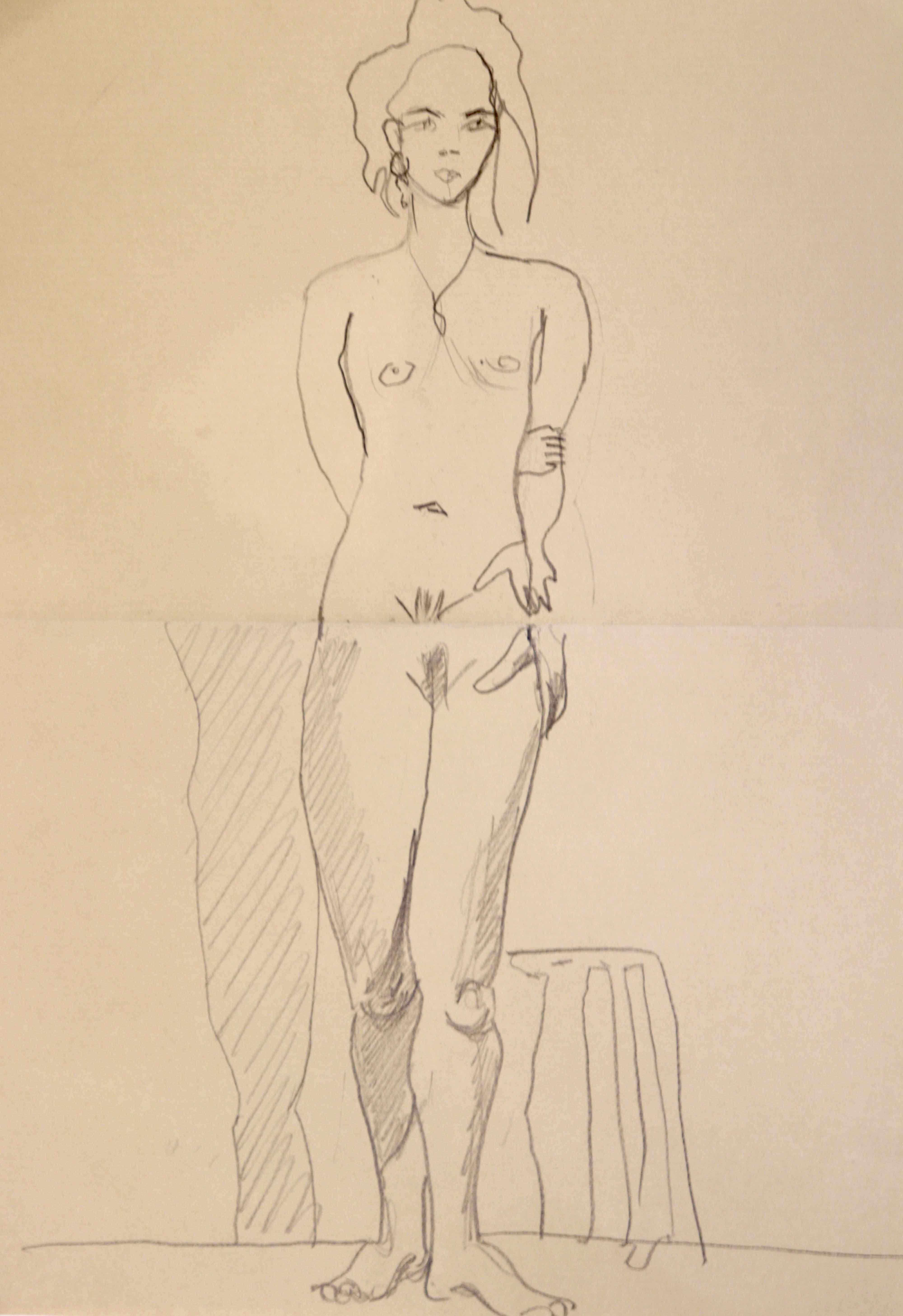 Mod�le vivant femme crayon papier sur papier color�  cours de dessin