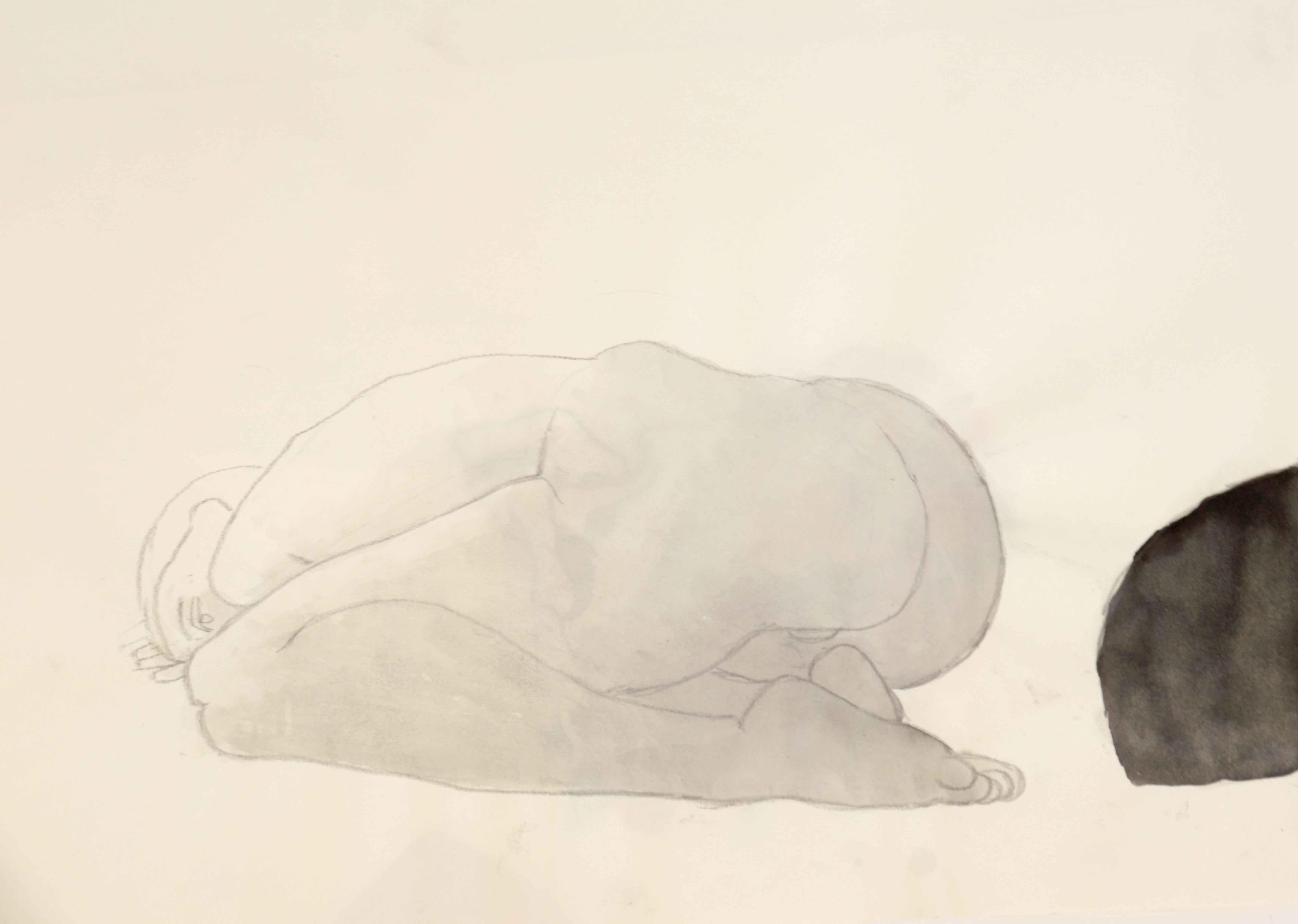Mod�le vivant homme technique mixte lavi et graphite sur papier  cours de dessin