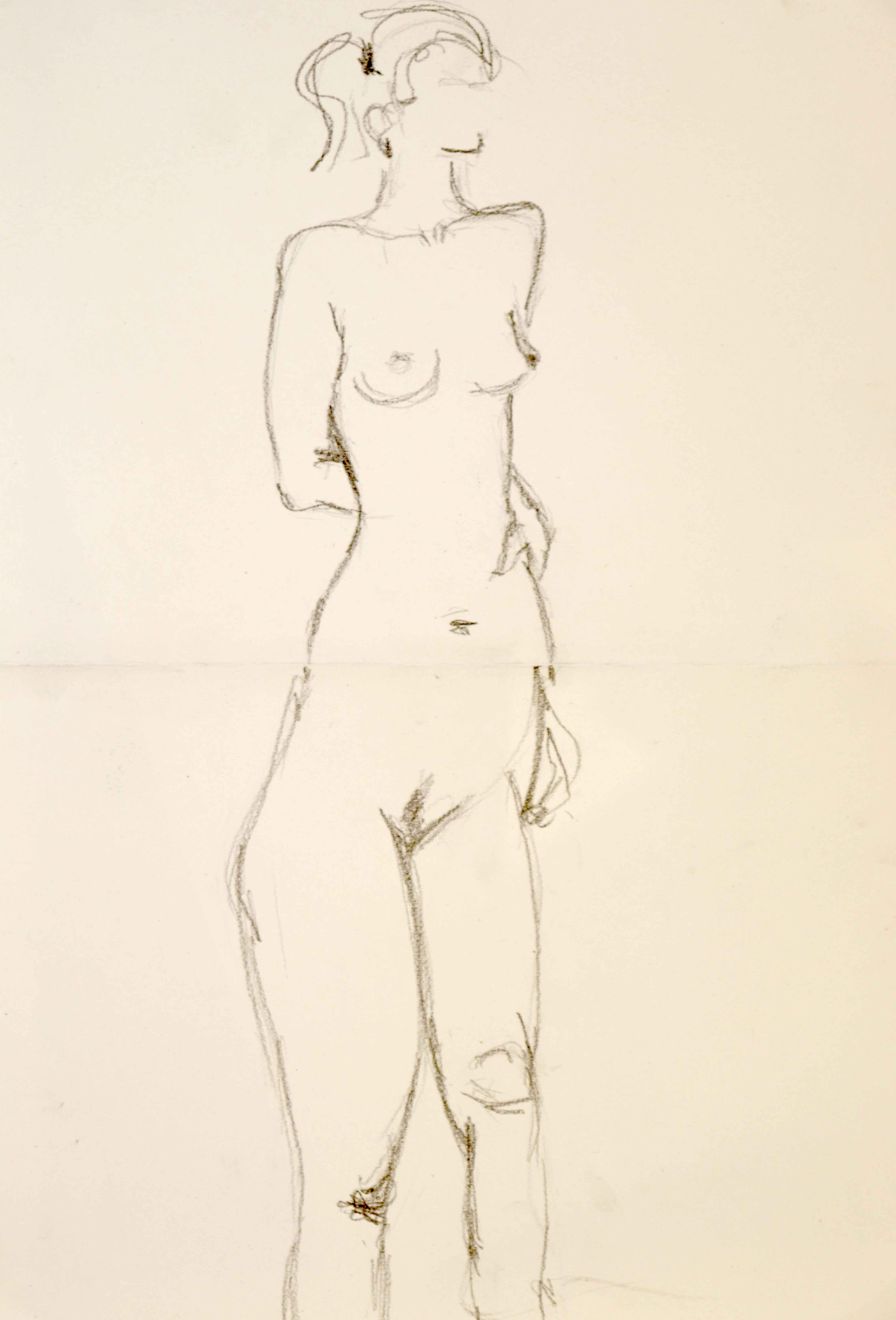Composition deux de mod�le vivant dessin au graphite sur papier  cours de dessin