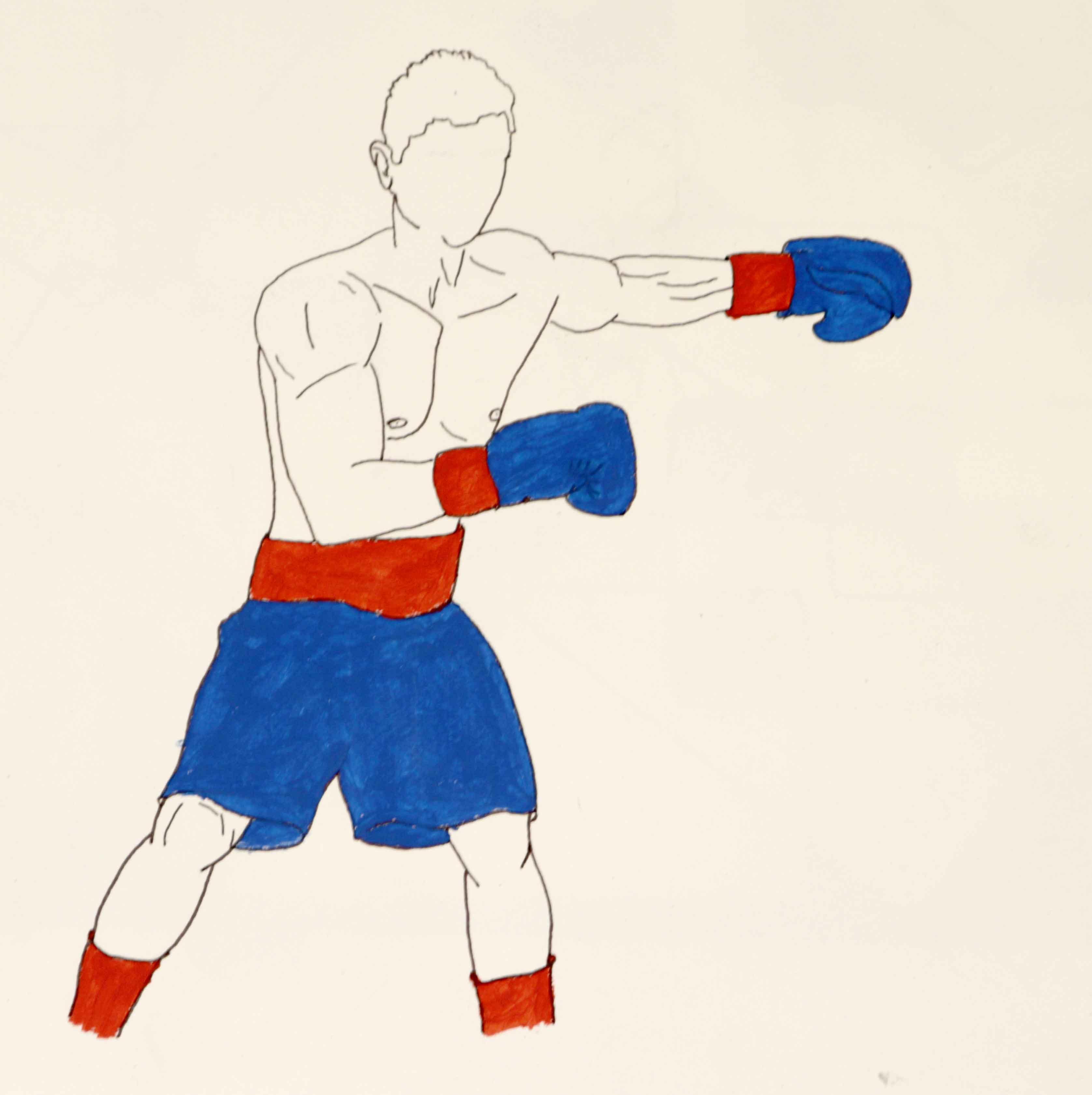 Dessin boxeur plume et peinture � la gouache  cours de dessin