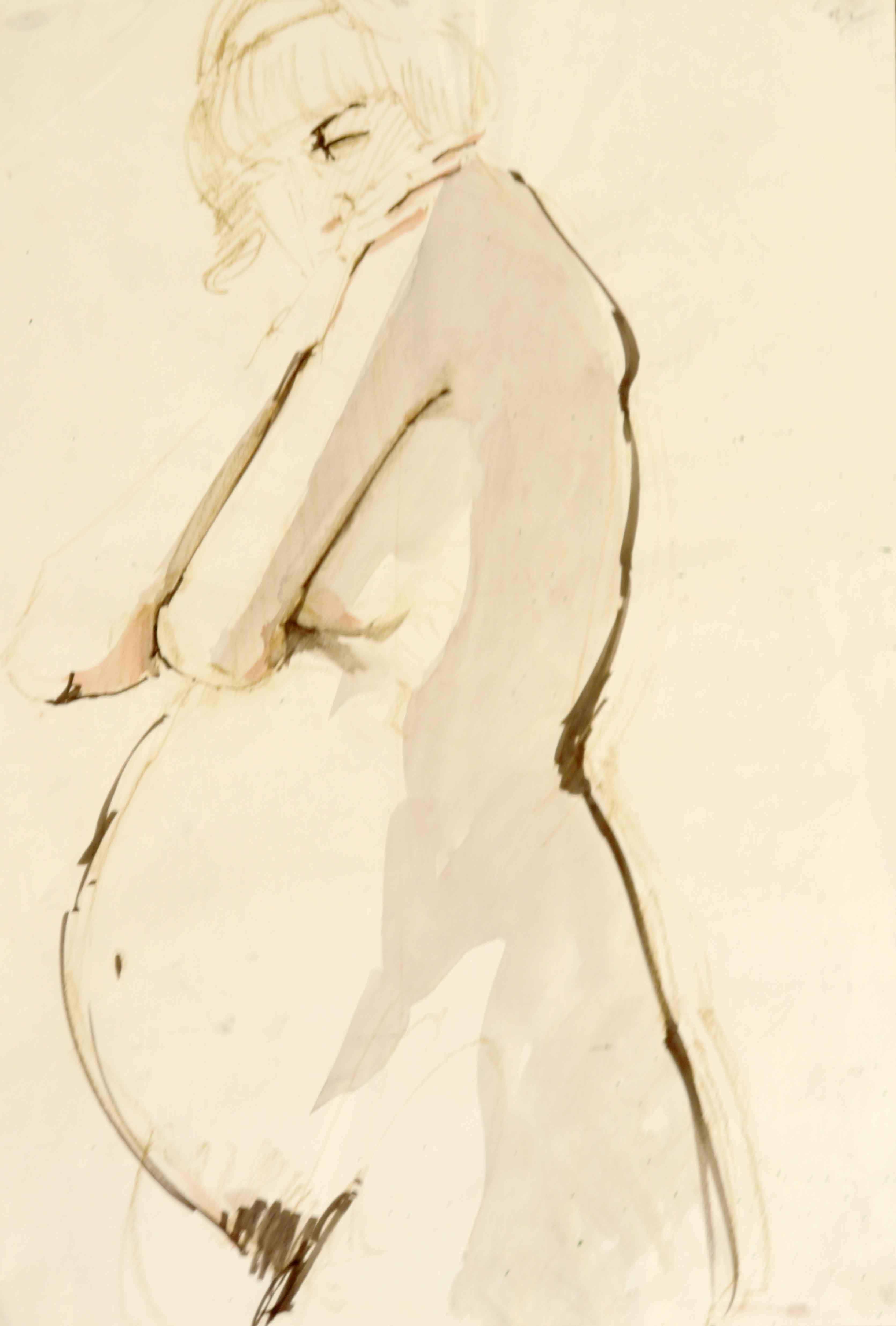 Mod�le vivant femme enceinte aquarelle sur papier format raisin  cours de dessin
