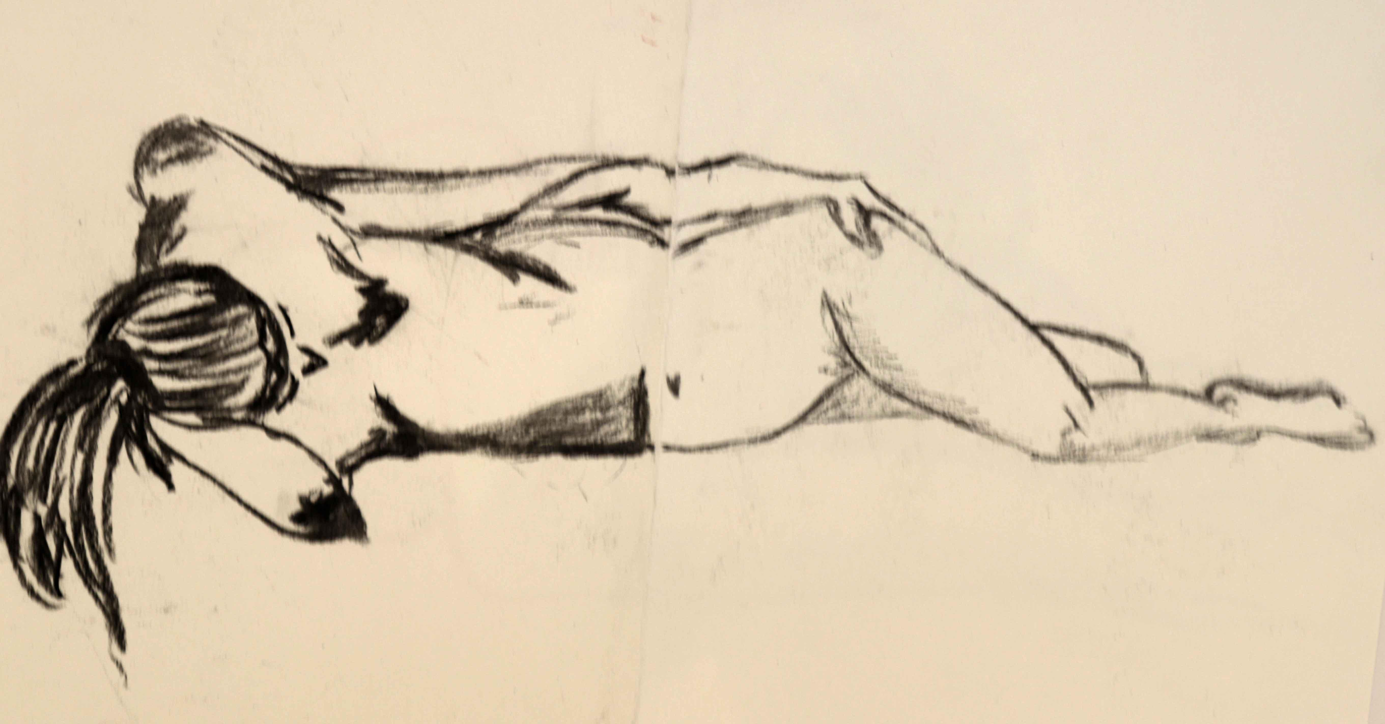 Mod�le vivant allong� femme fusain sur papier  cours de dessin