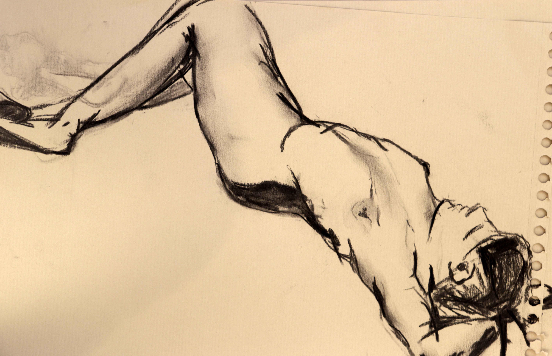 Croquis rapide mod�le vivant estompe fusain sur papier Kraft  cours de dessin
