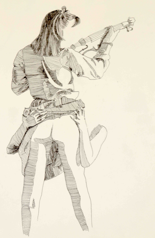 Dessin mod�le vivant plume hachures sur papier  cours de dessin