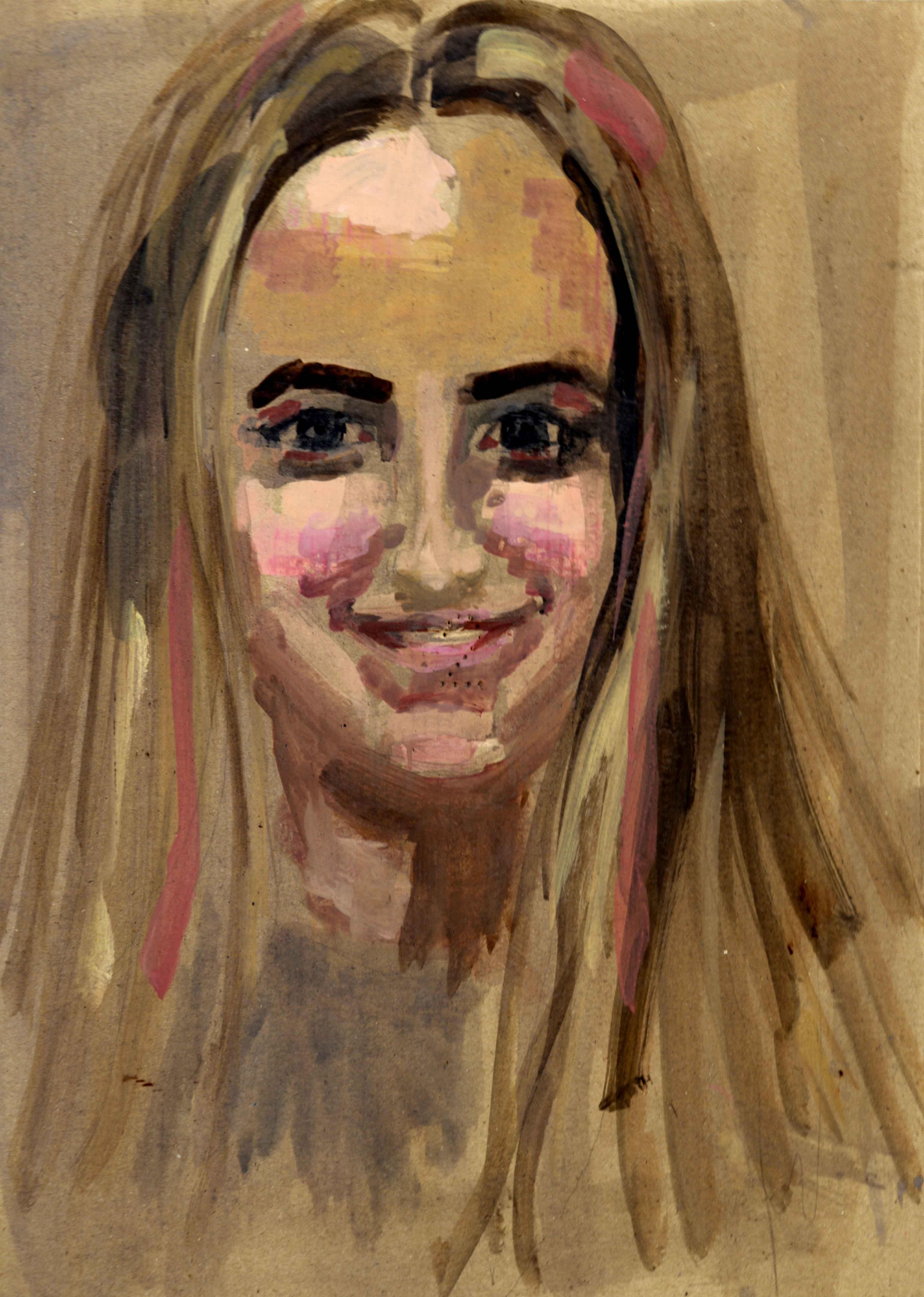 Portrait peinture gouache sur carton  cours de dessin