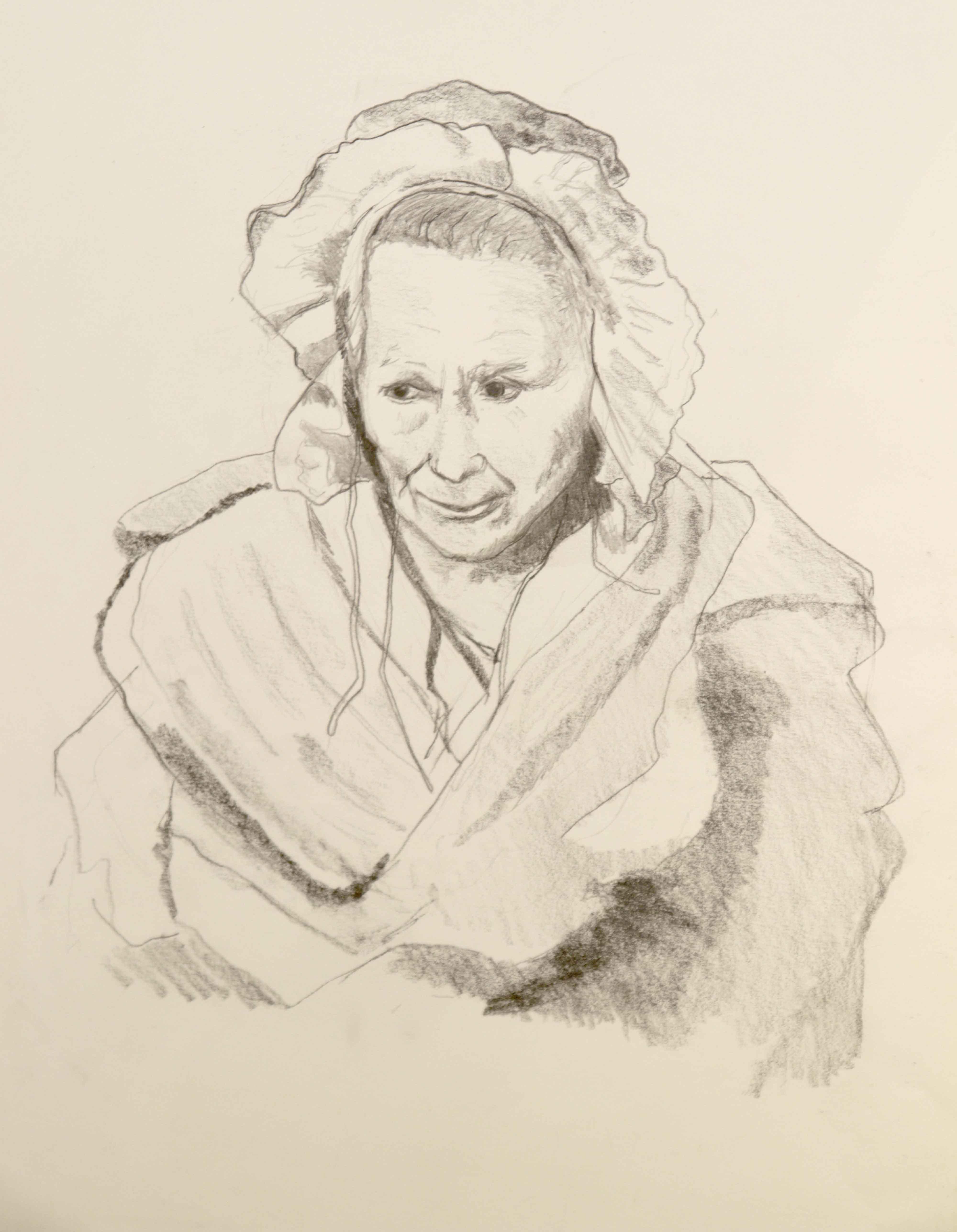 Portrait graphite crayon papier sur papier  cours de dessin