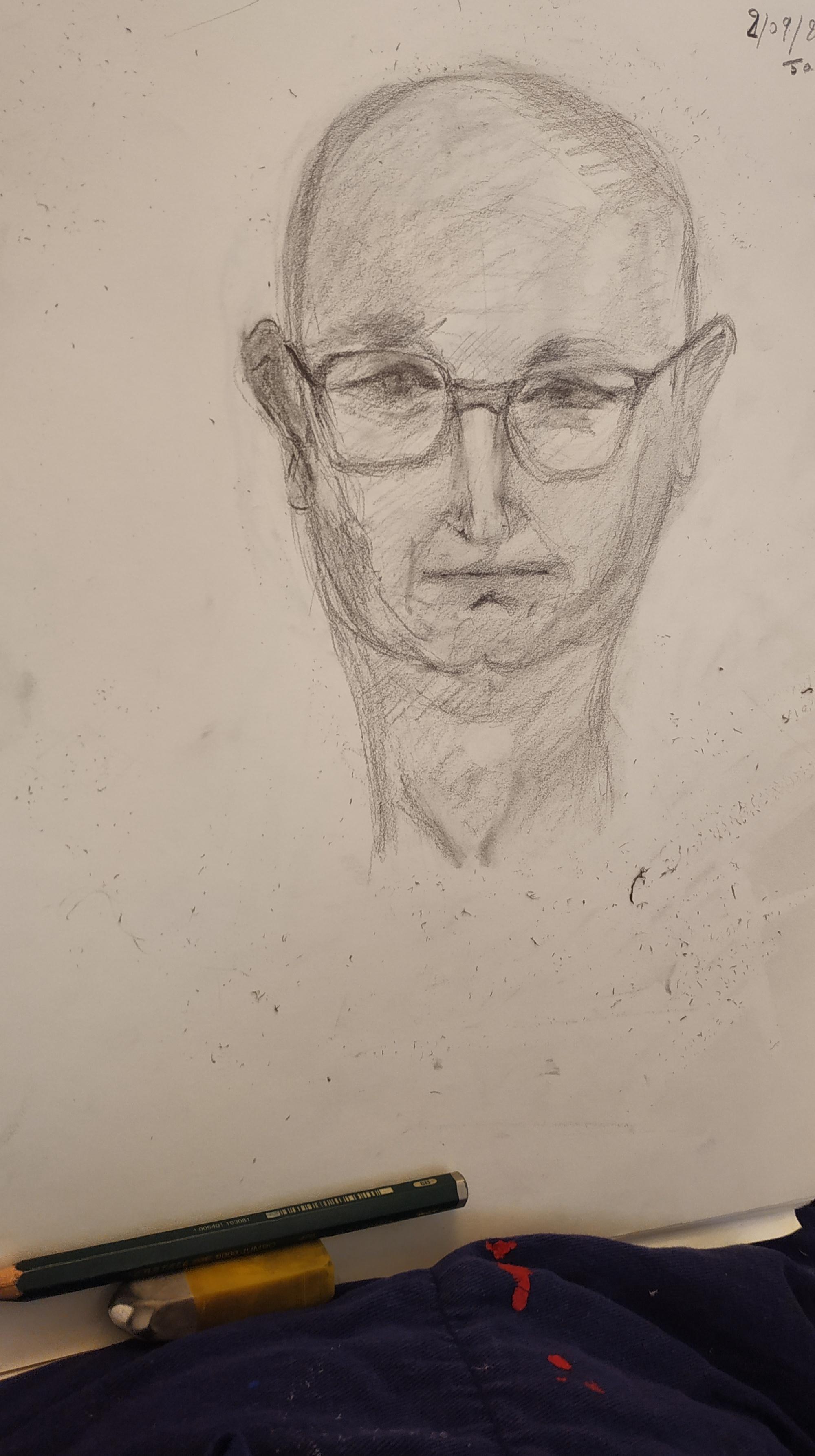 Portrait homme dessin crayon de papier  cours de dessin