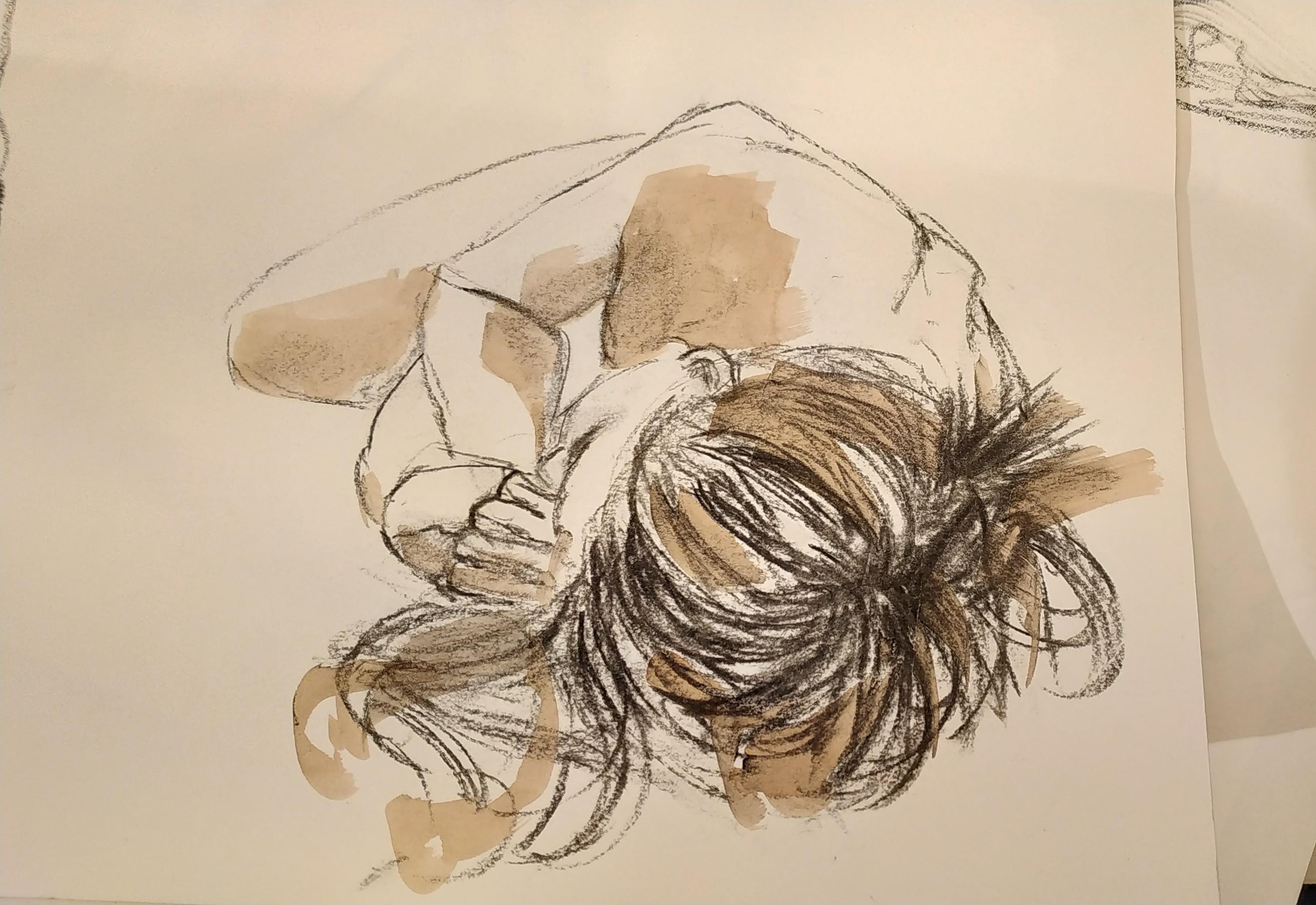 Croquis mod�le vivant allong� en raccourci r� hausse au brou de noix  cours de dessin