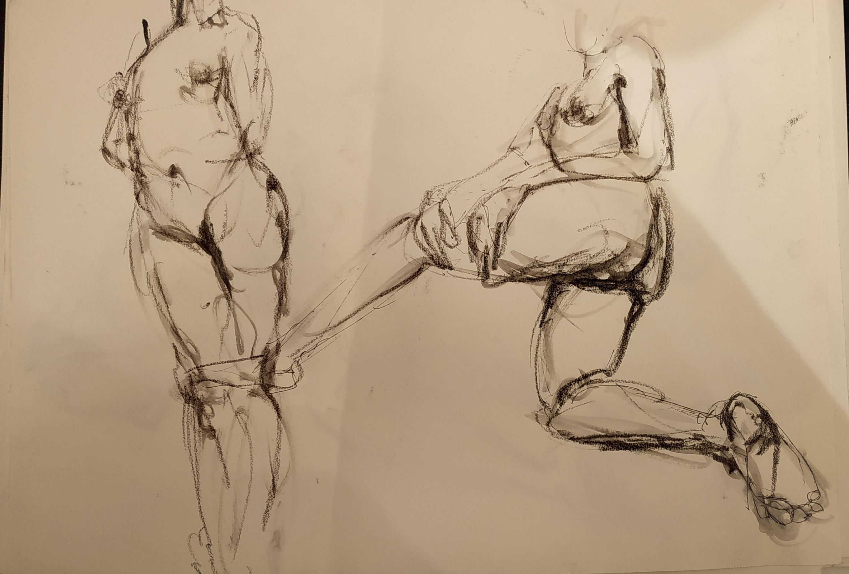Croquis mod�le vivant femme debout technique mixte  cours de dessin
