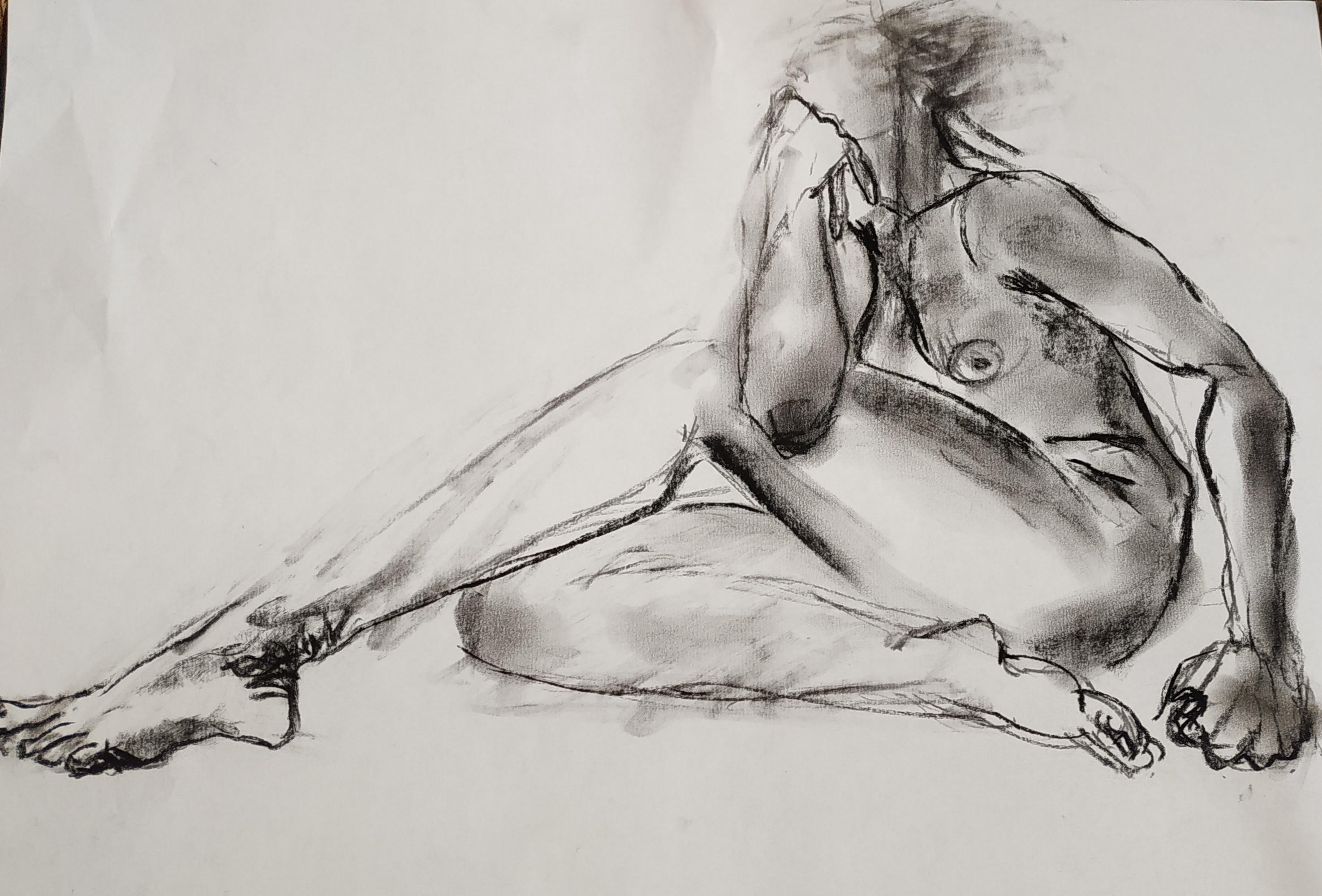croqui nu femme assis fusain sur papier  cours de dessin