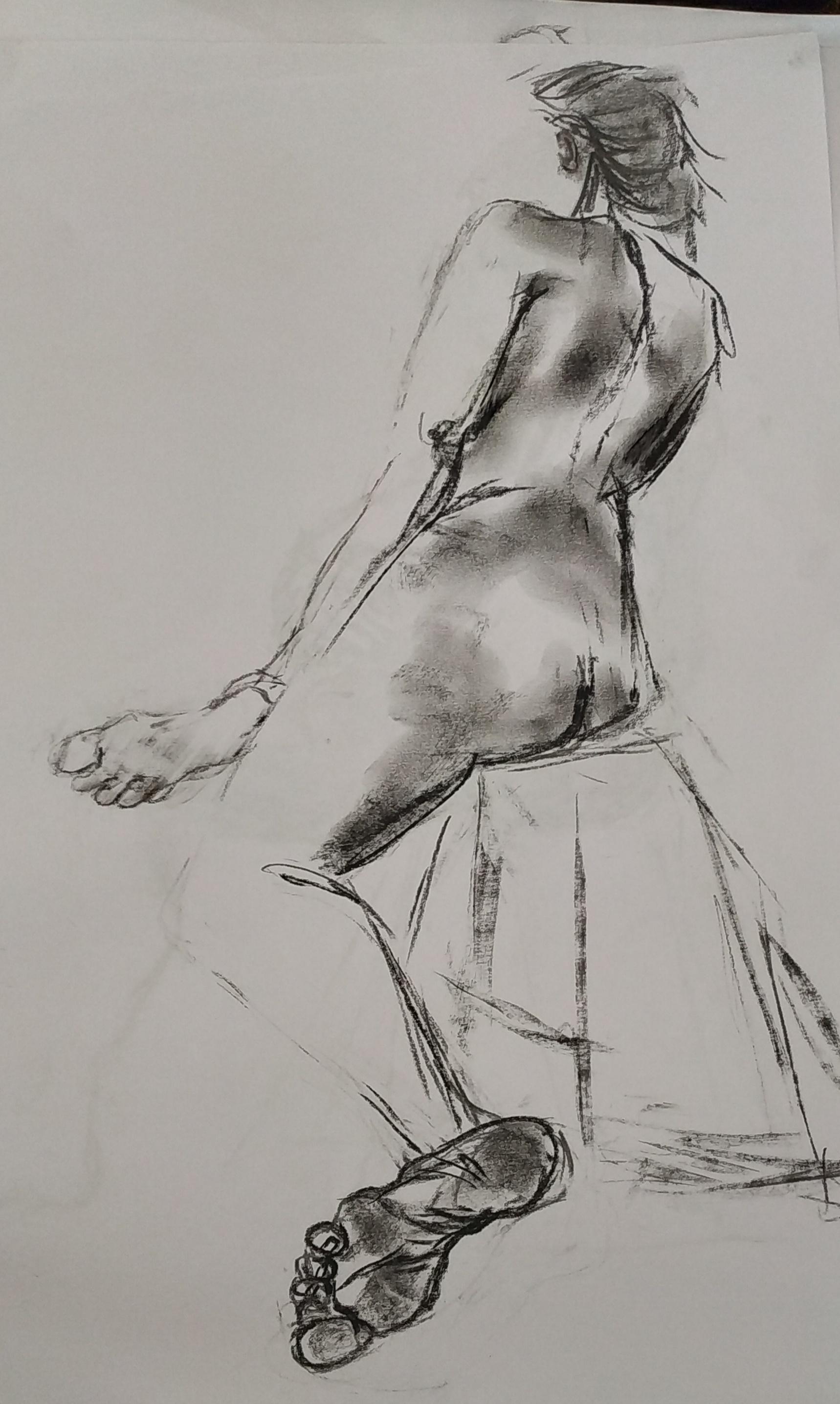 dessin nu assis fusain sur papier  cours de dessin