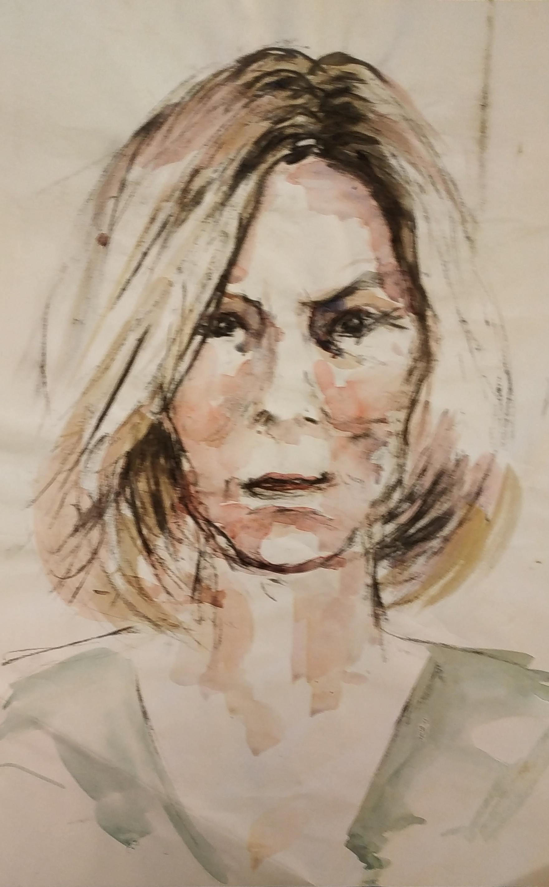 Portrait aquarelle et fusain  cours de dessin