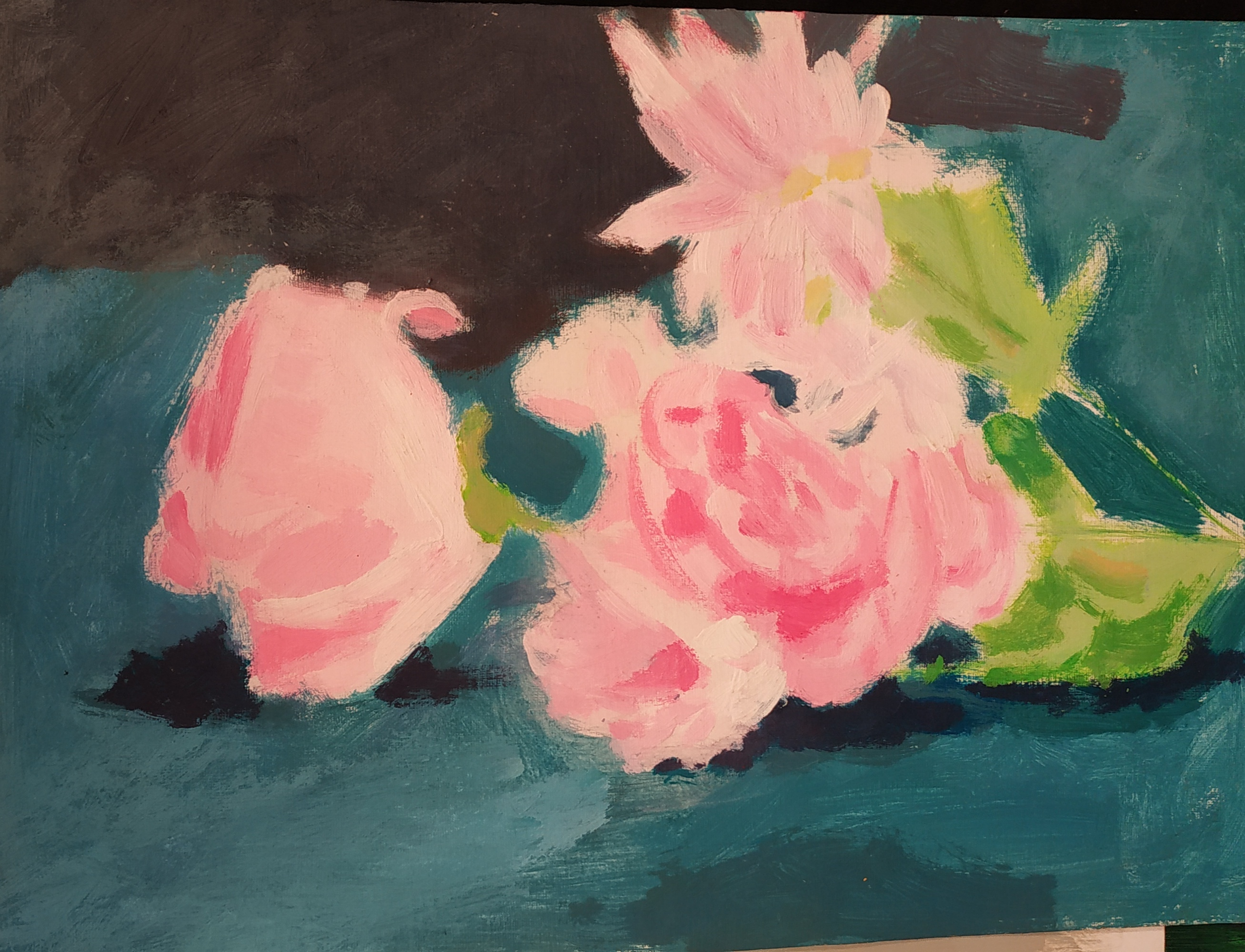 Peinture fleur sur Carton  cours de dessin