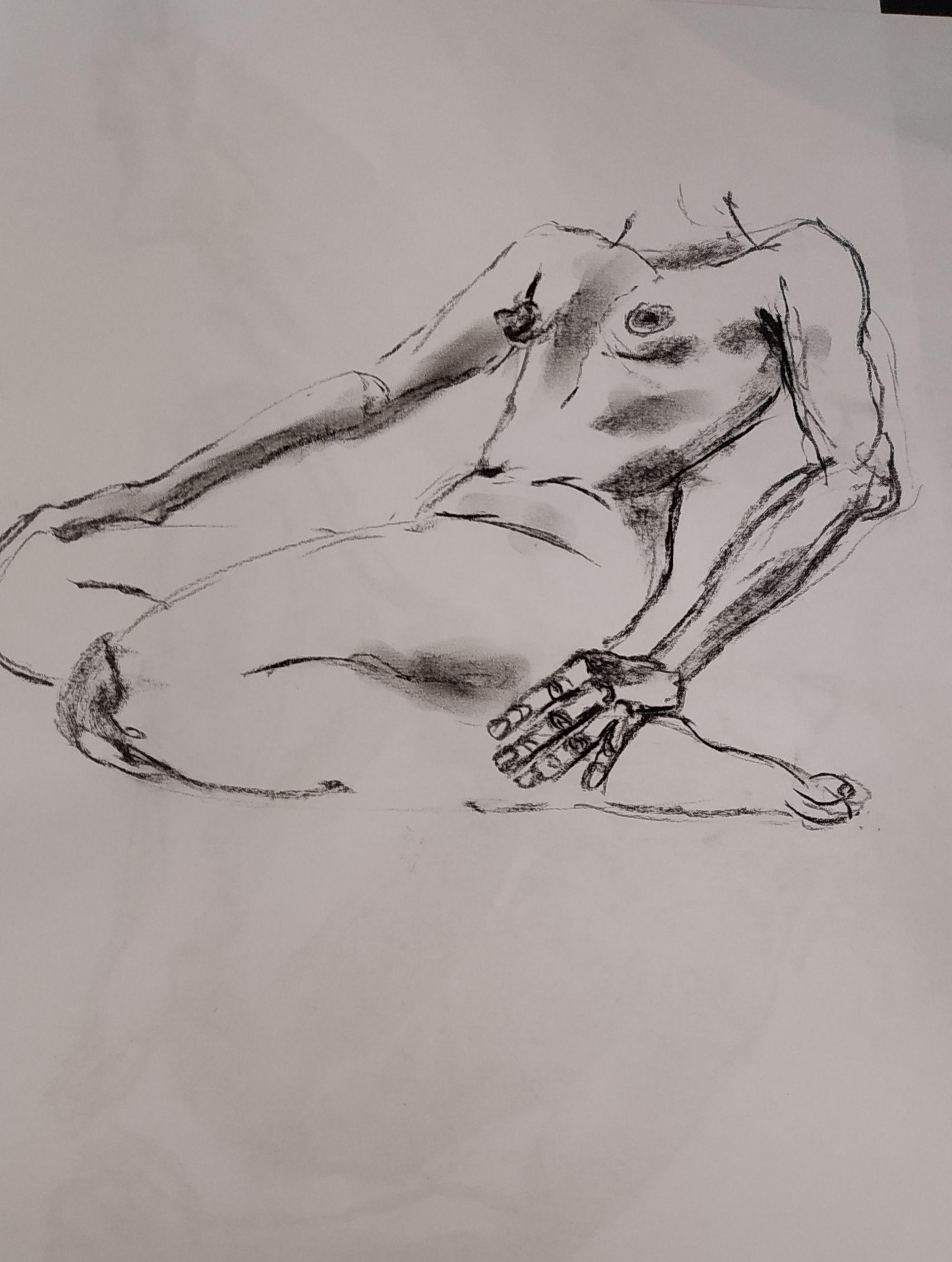 Ébauche dessin fusain Modèle vivant  cours de dessin