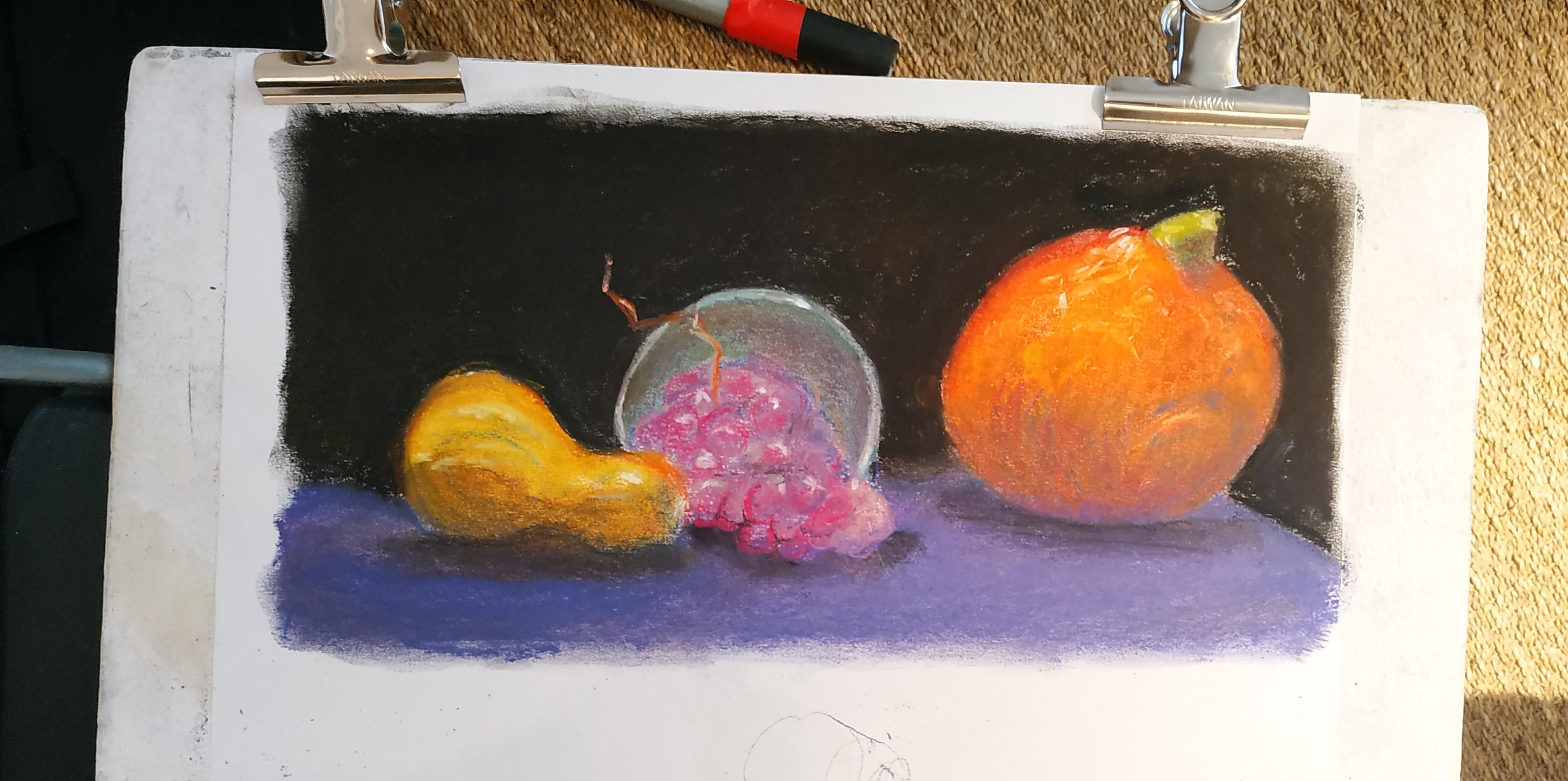 Natures mortes pastel  cours de dessin