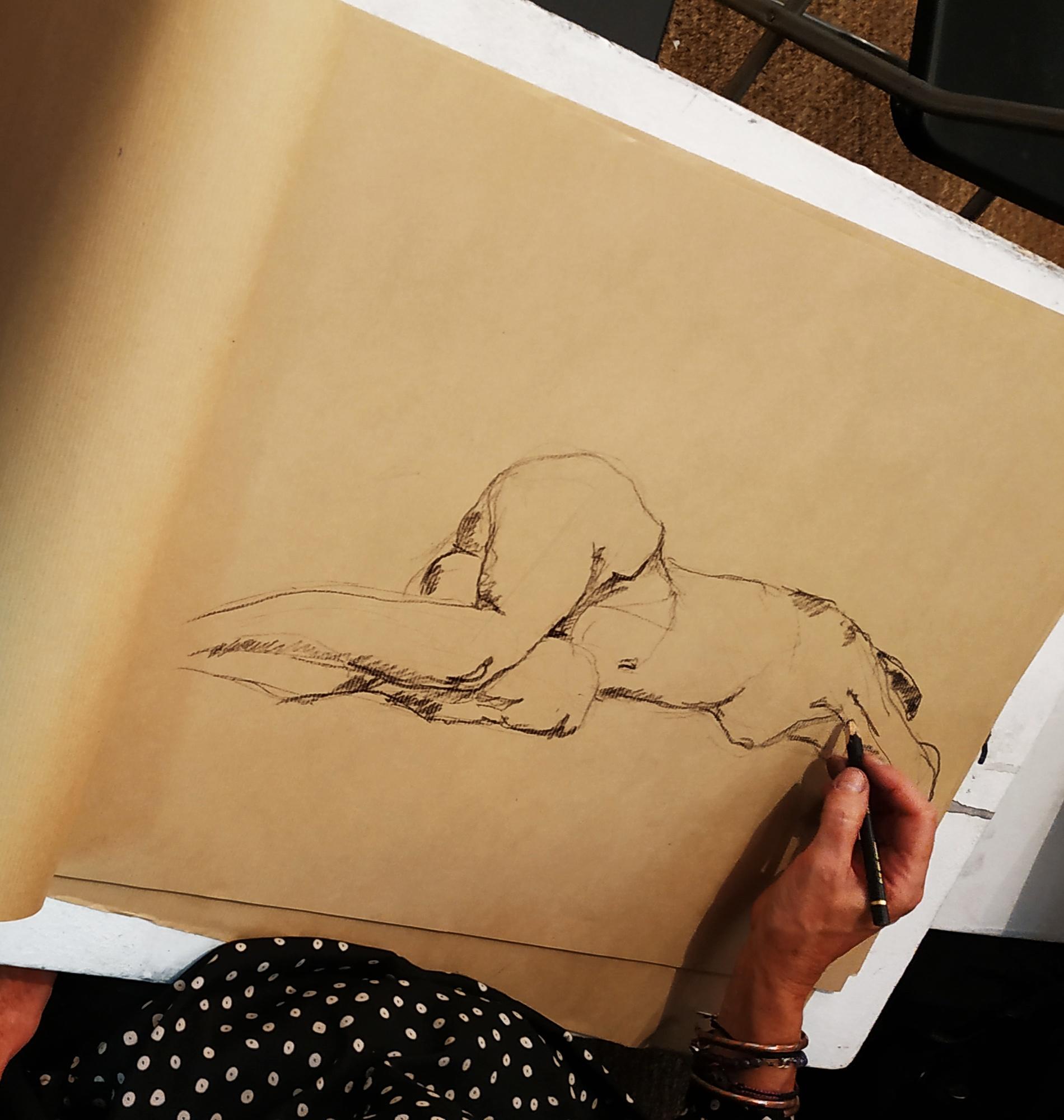 Croquis devenu Pierre noir sur papier Kraft  cours de dessin