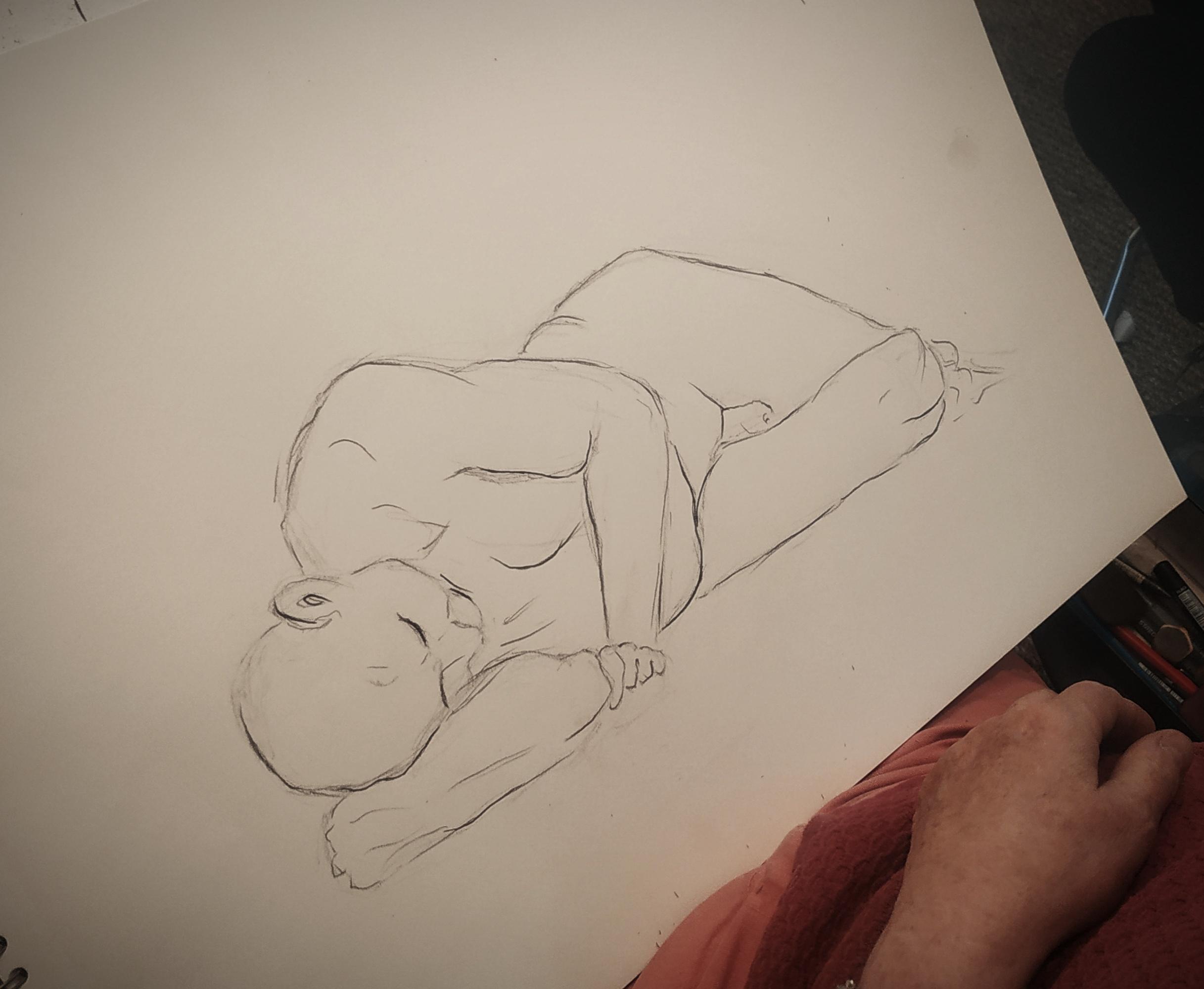 Croquis mod�le vivant homme allong� fusain  cours de dessin
