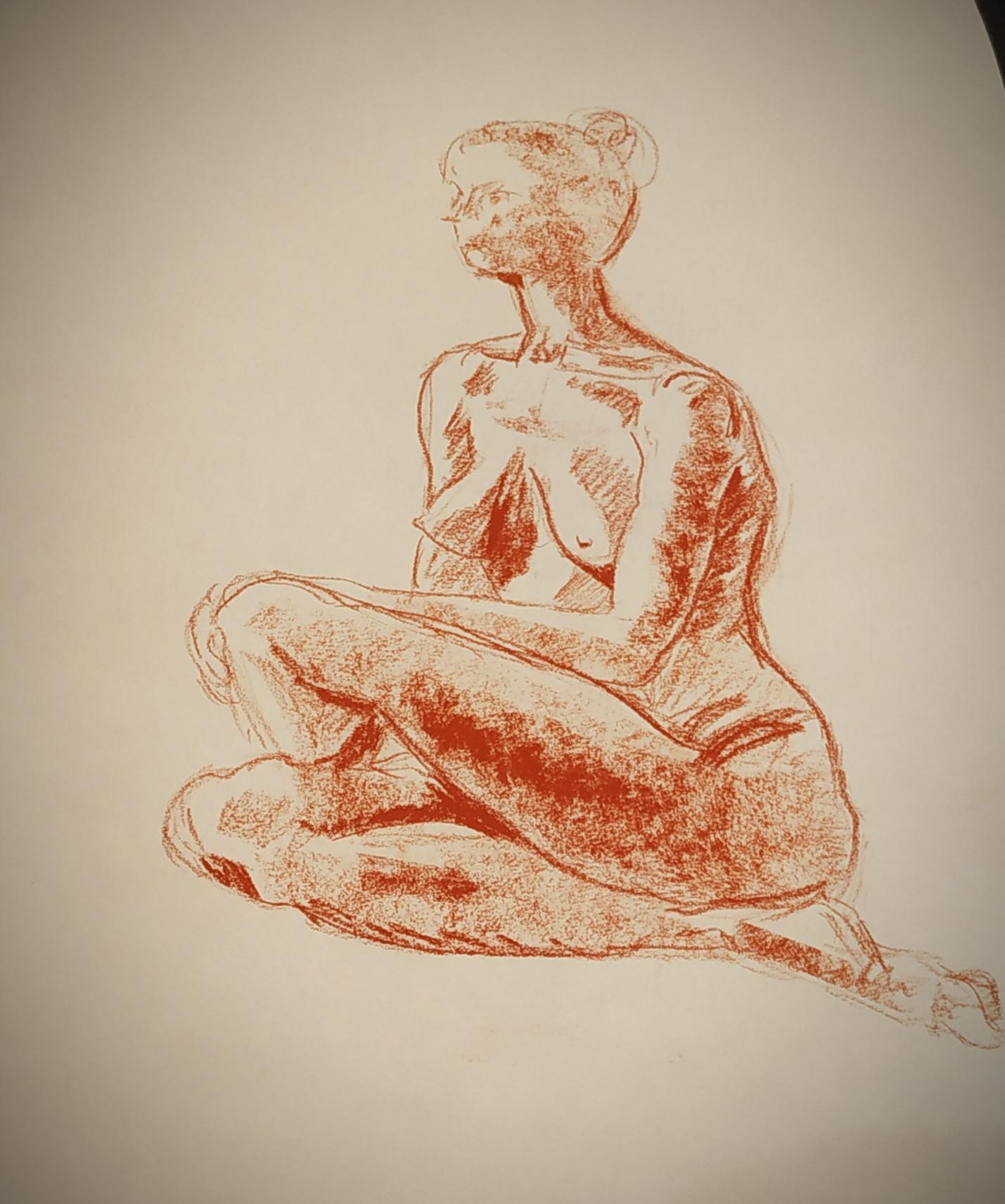 Dessin mod�le vivant ainsi sanguine sur papier  cours de dessin