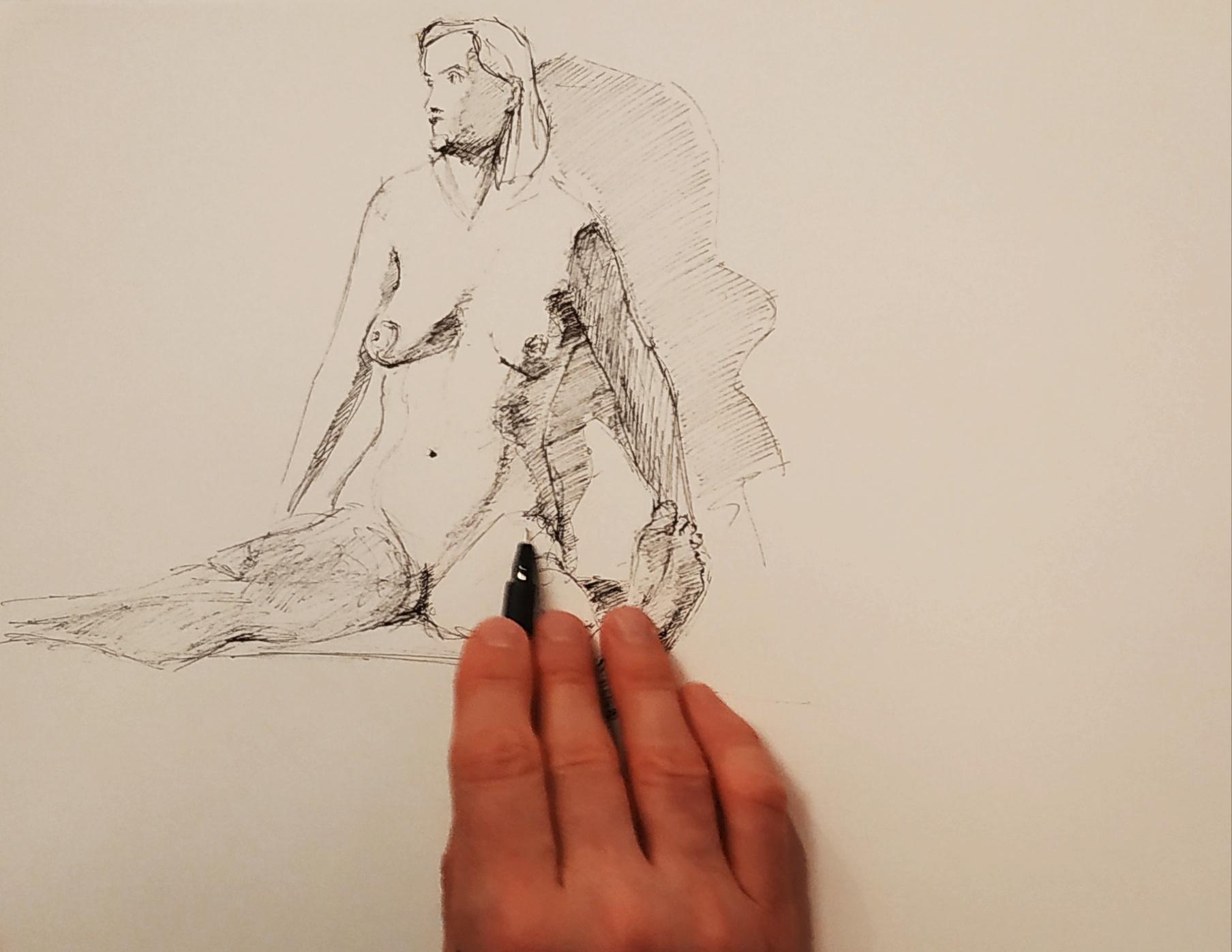 Dessin mod�le vivant Hachures au stylo  cours de dessin