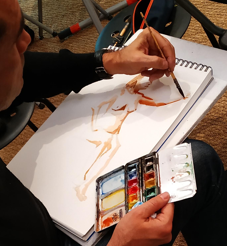 Aquarelle sur papier mod�le vivant femme  cours de dessin