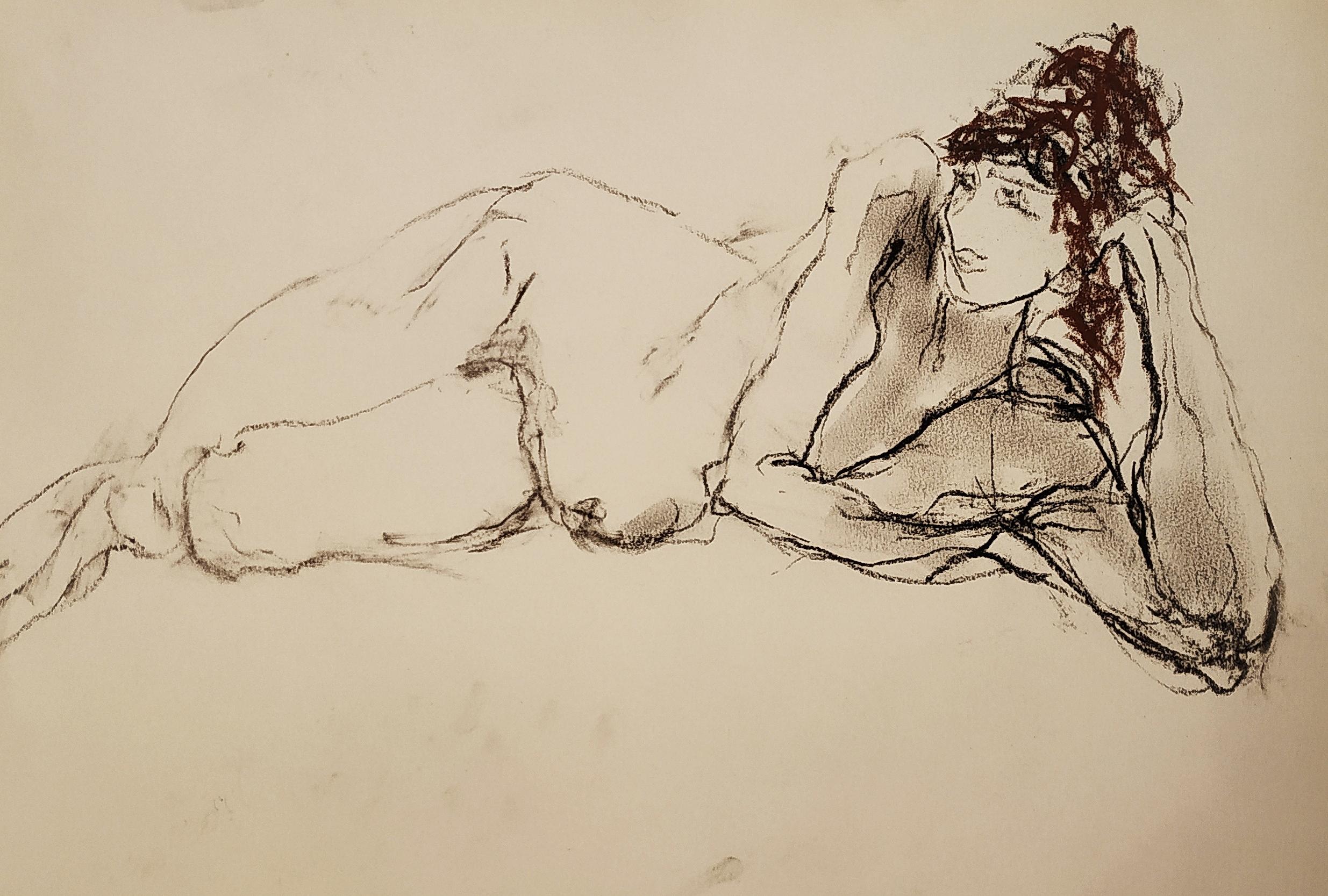 Mod�le vivant allong� Pierre noir femme  cours de dessin