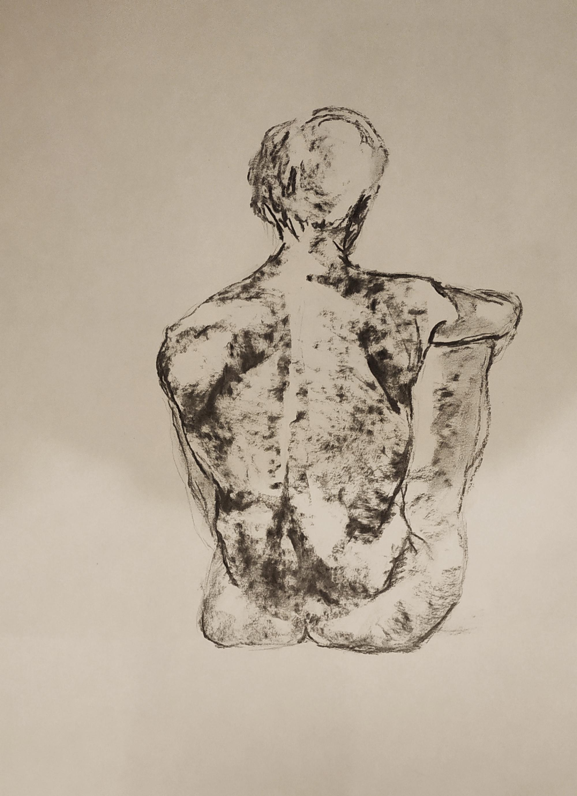 Dessin modèle vivant homme de dos au fusain  cours de dessin