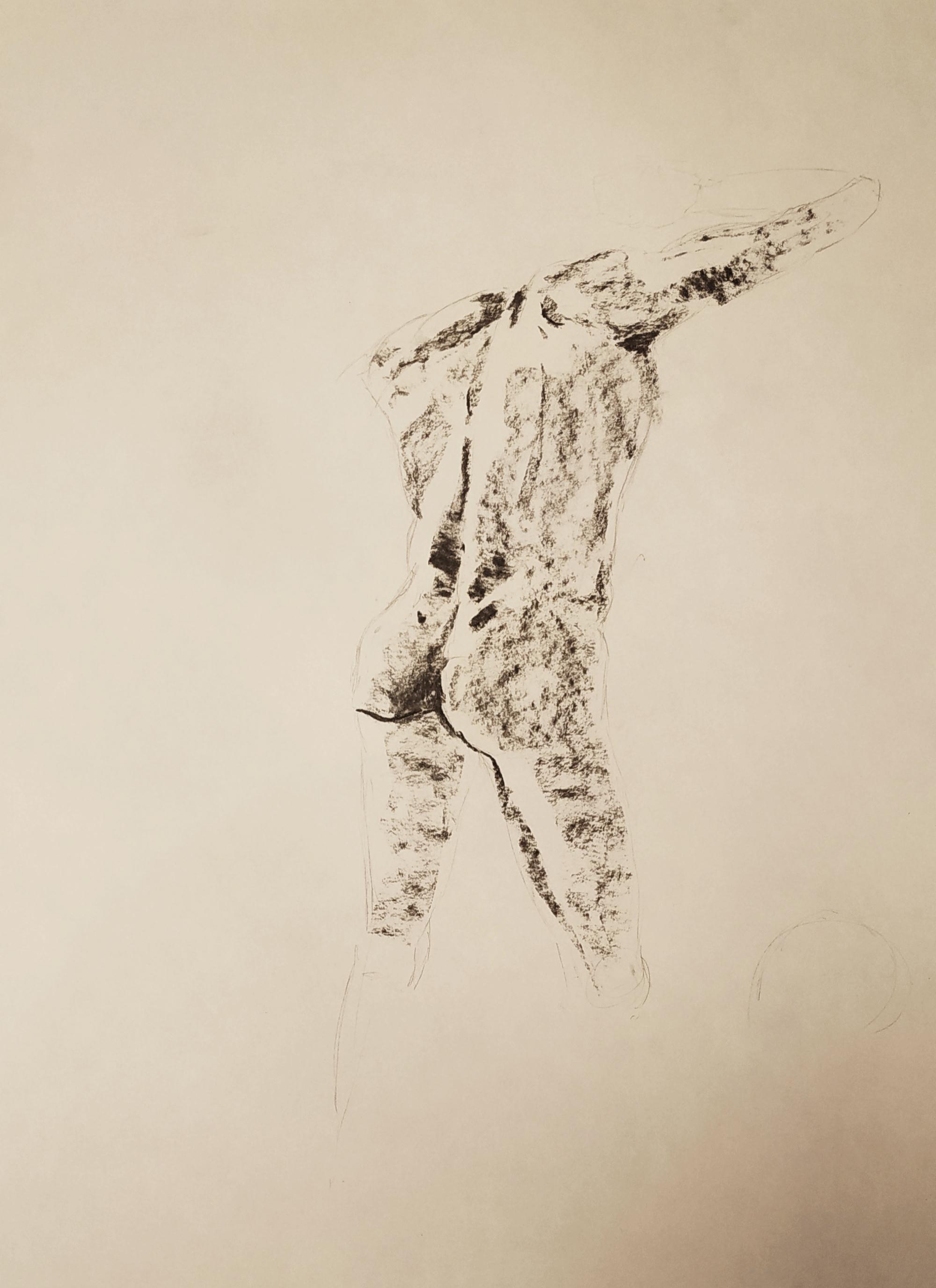 Fusain modèle vivant homme debout de dos  cours de dessin