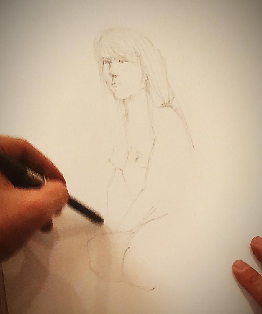 Portrait mine de plomb croquis sur papier  cours de dessin