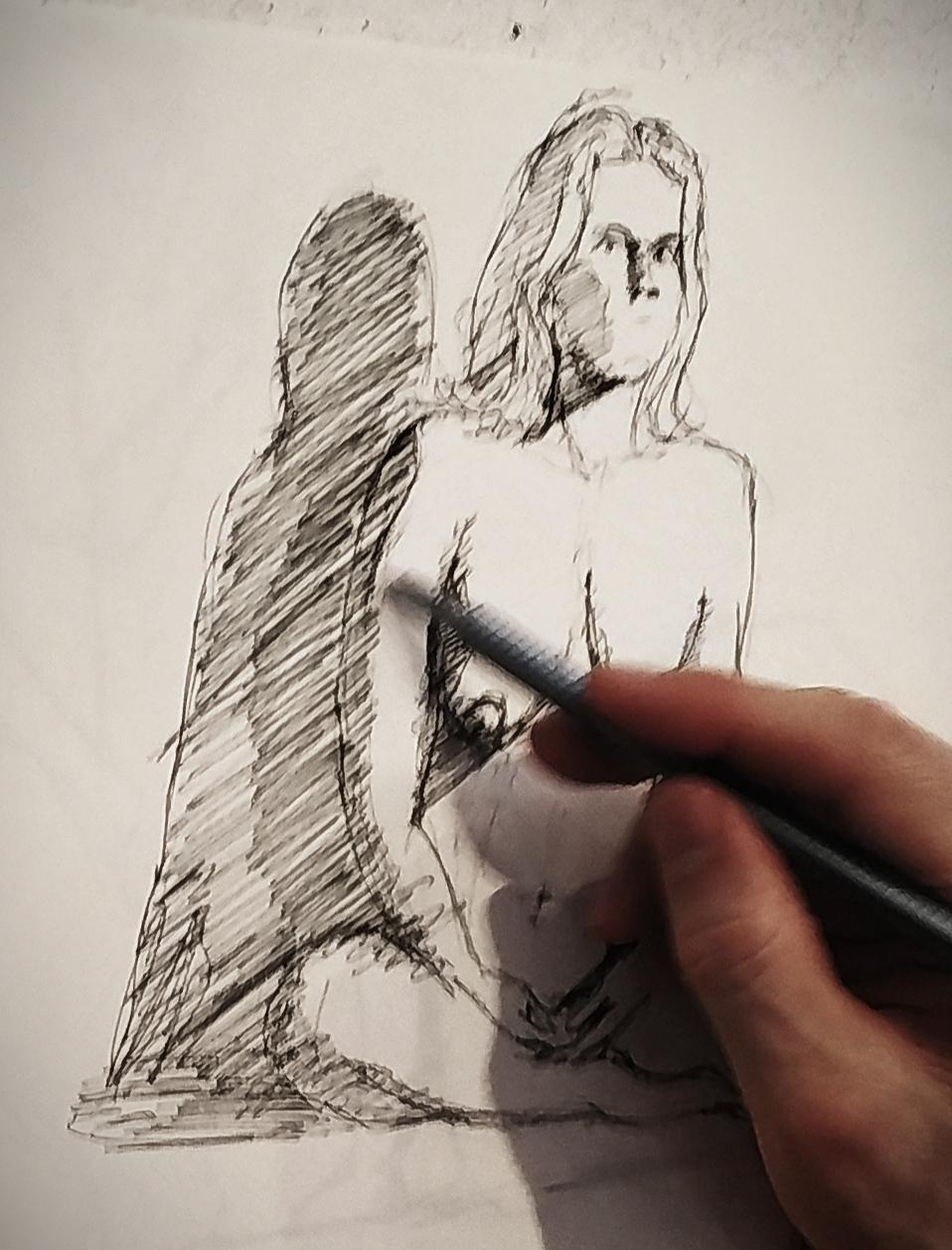 Croquis gravure hachures � l'encre  cours de dessin