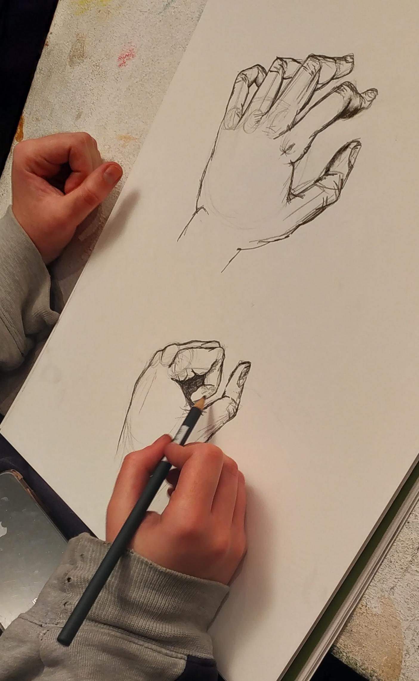 Structure d'une main �tude croquis  cours de dessin
