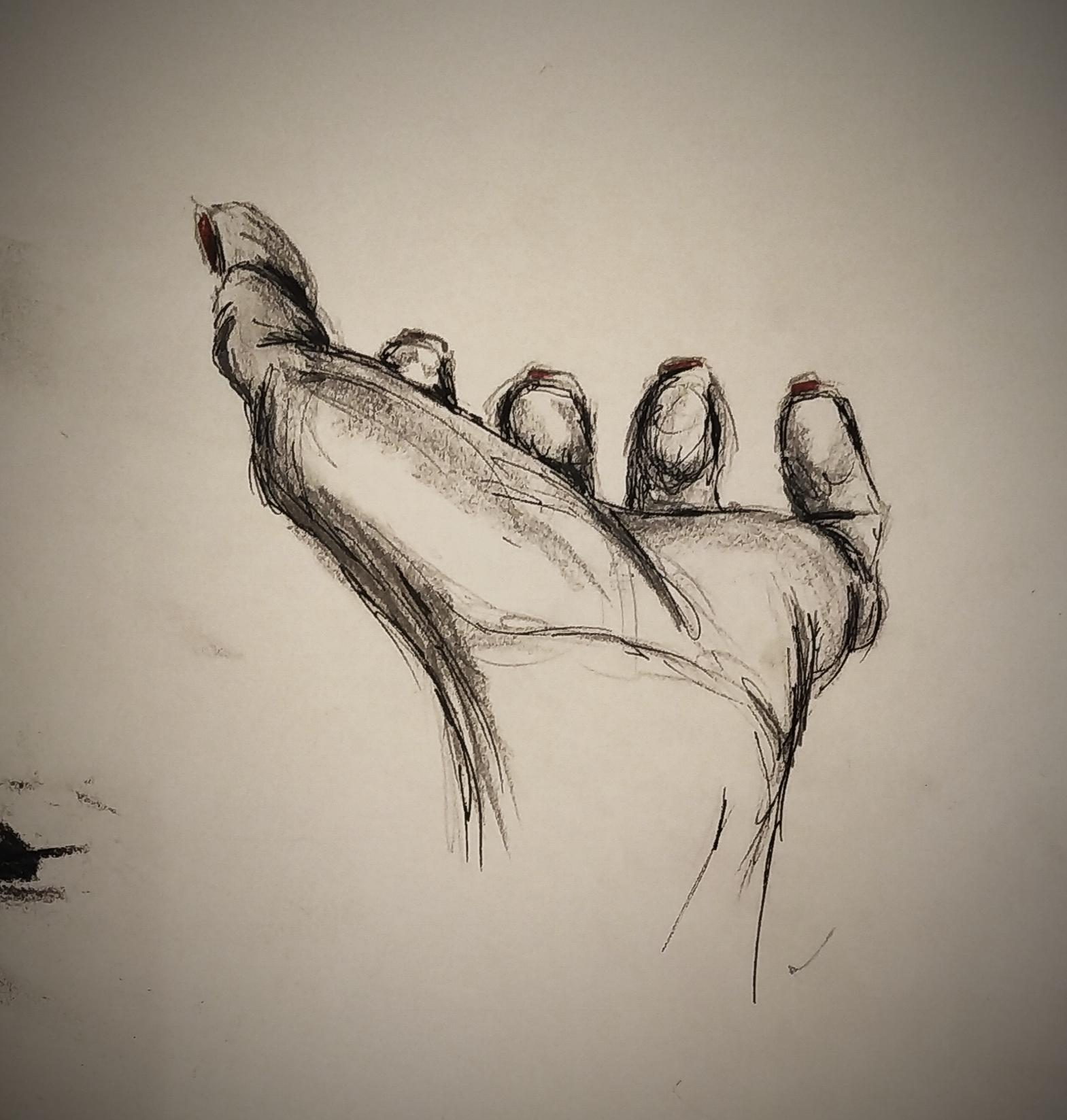Croquis d'une main perspective  cours de dessin